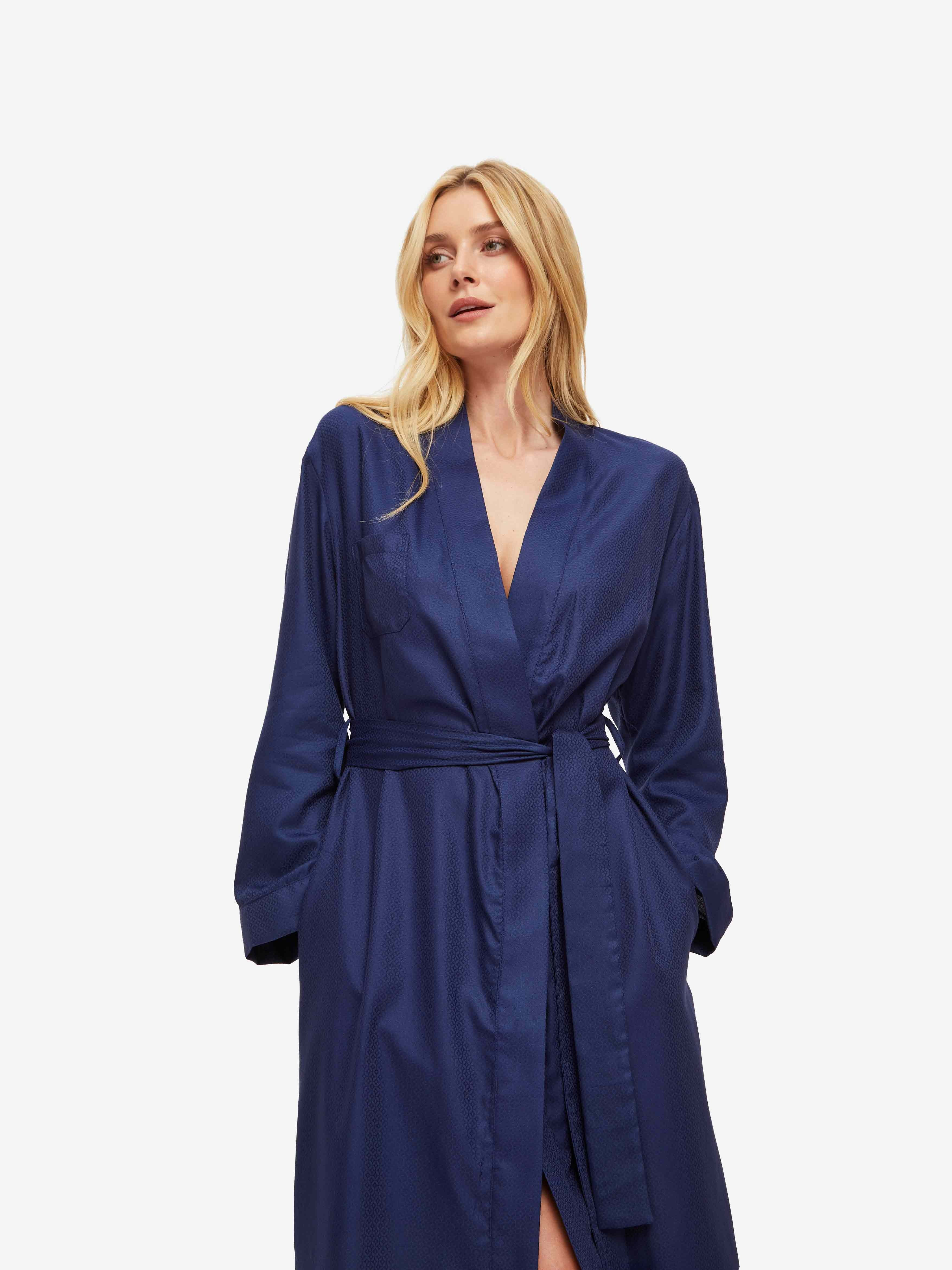 Women's Mid Dressing Gown Lombard 6 Cotton Jacquard Navy