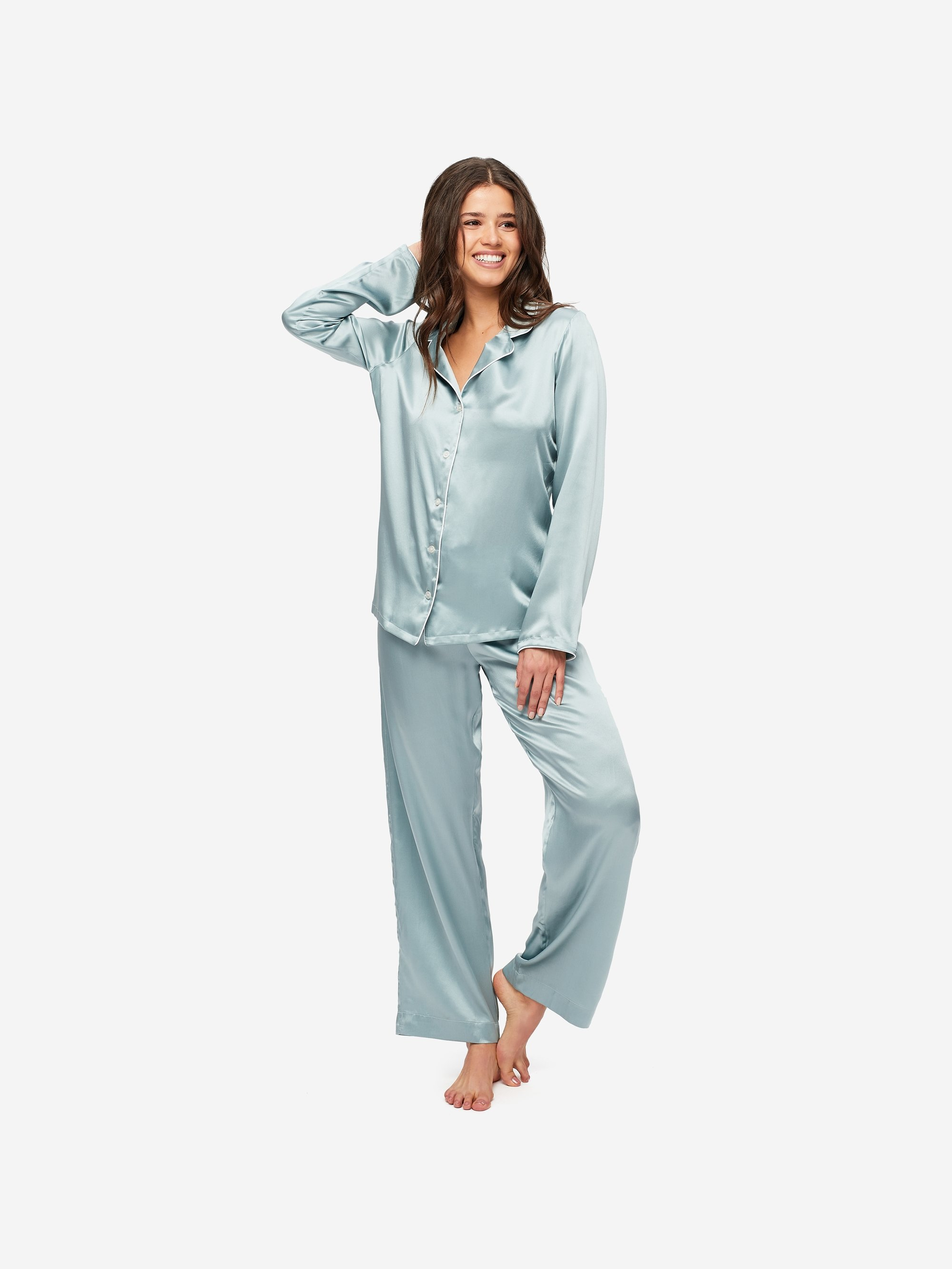 Women's Pyjamas Bailey Pure Silk Satin Blue