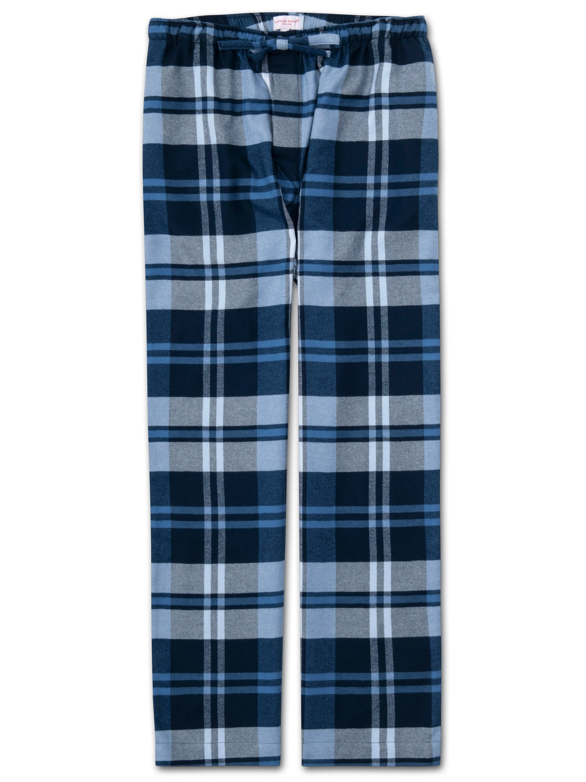 Men's Lounge Trousers Kelburn 12 Brushed Cotton Check Navy