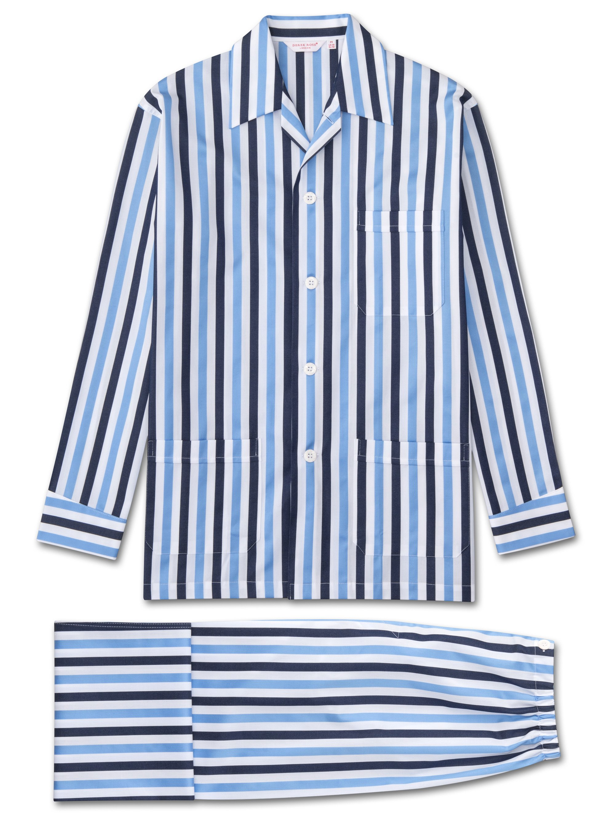Men's Classic Fit Pyjamas Windsor 40 Cotton Satin Stripe Blue