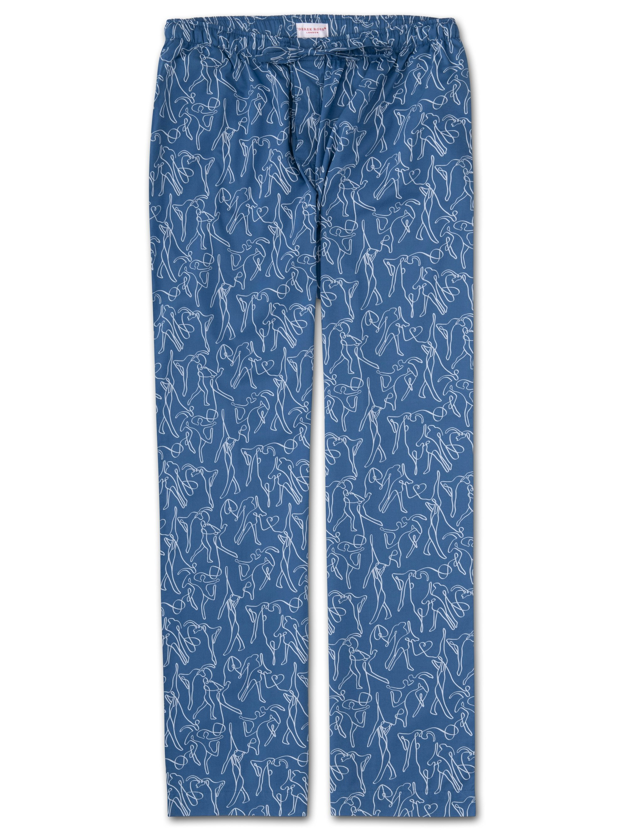 Men's Lounge Trousers Nelson 76 Cotton Batiste Blue