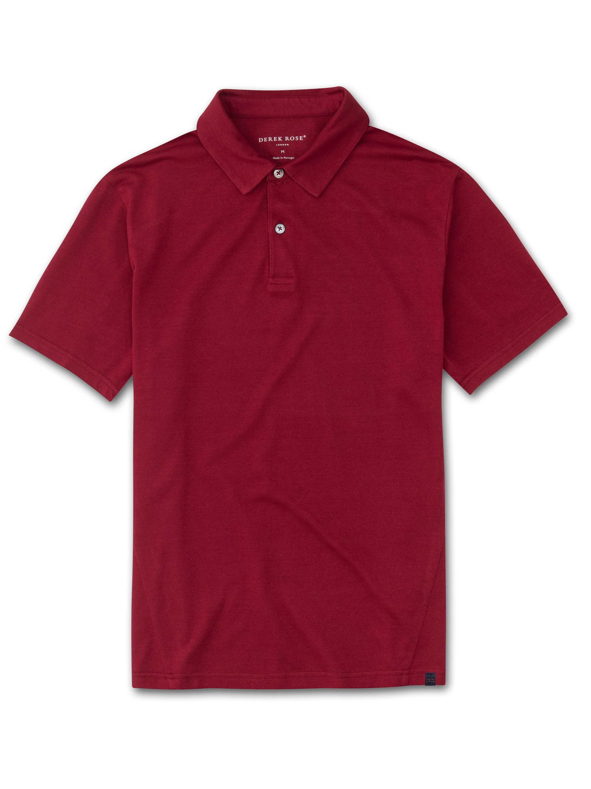 Men's Short Sleeve Polo Shirt Ramsay Pique Cotton Tencel Red