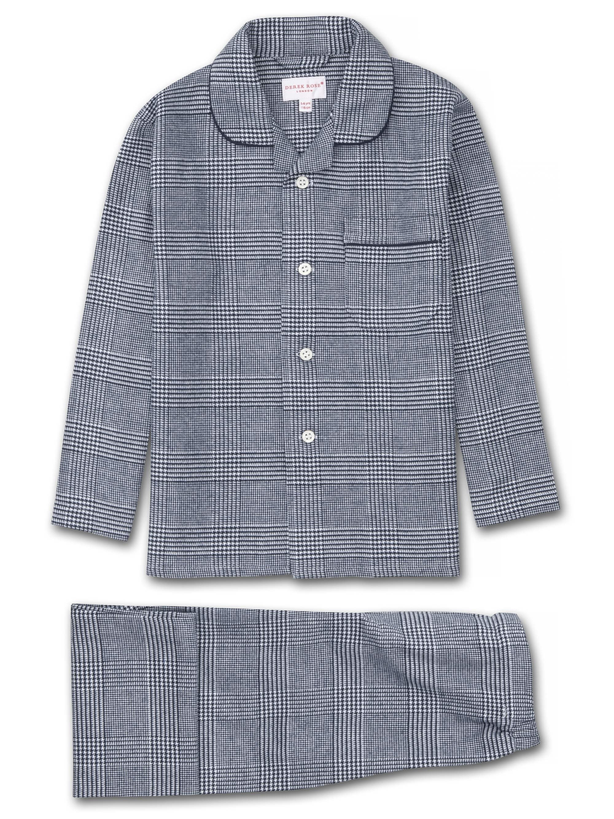 Kids' Pyjamas Kelburn 10 Brushed Cotton Check Navy