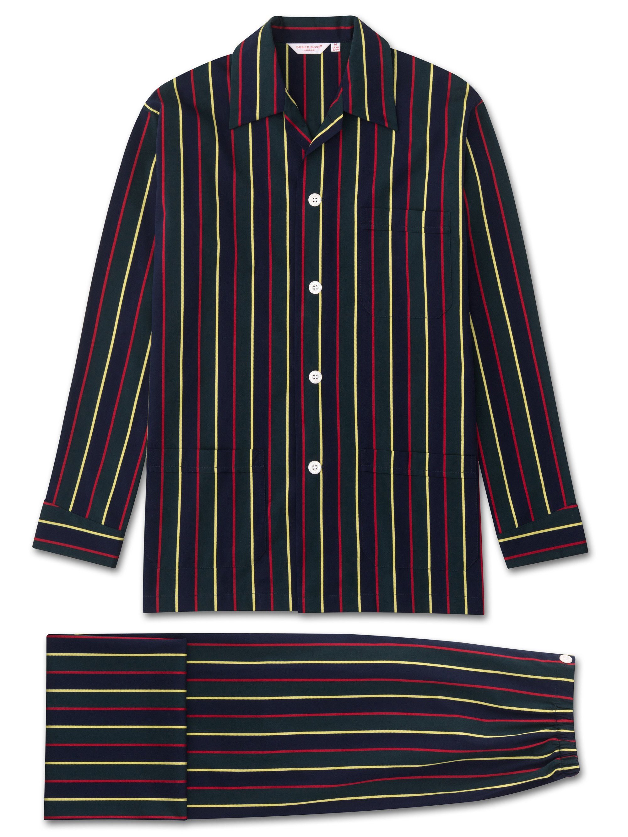 Men's Classic Fit Pyjamas Pure Cotton Satin Stripe Regimental ASH