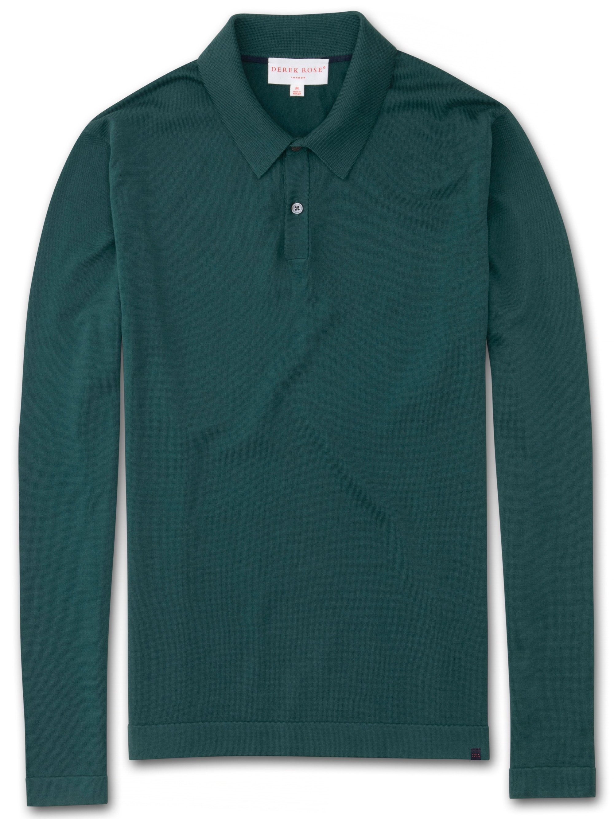 Men's Long Sleeve Polo Shirt Jacob Sea Island Cotton Green