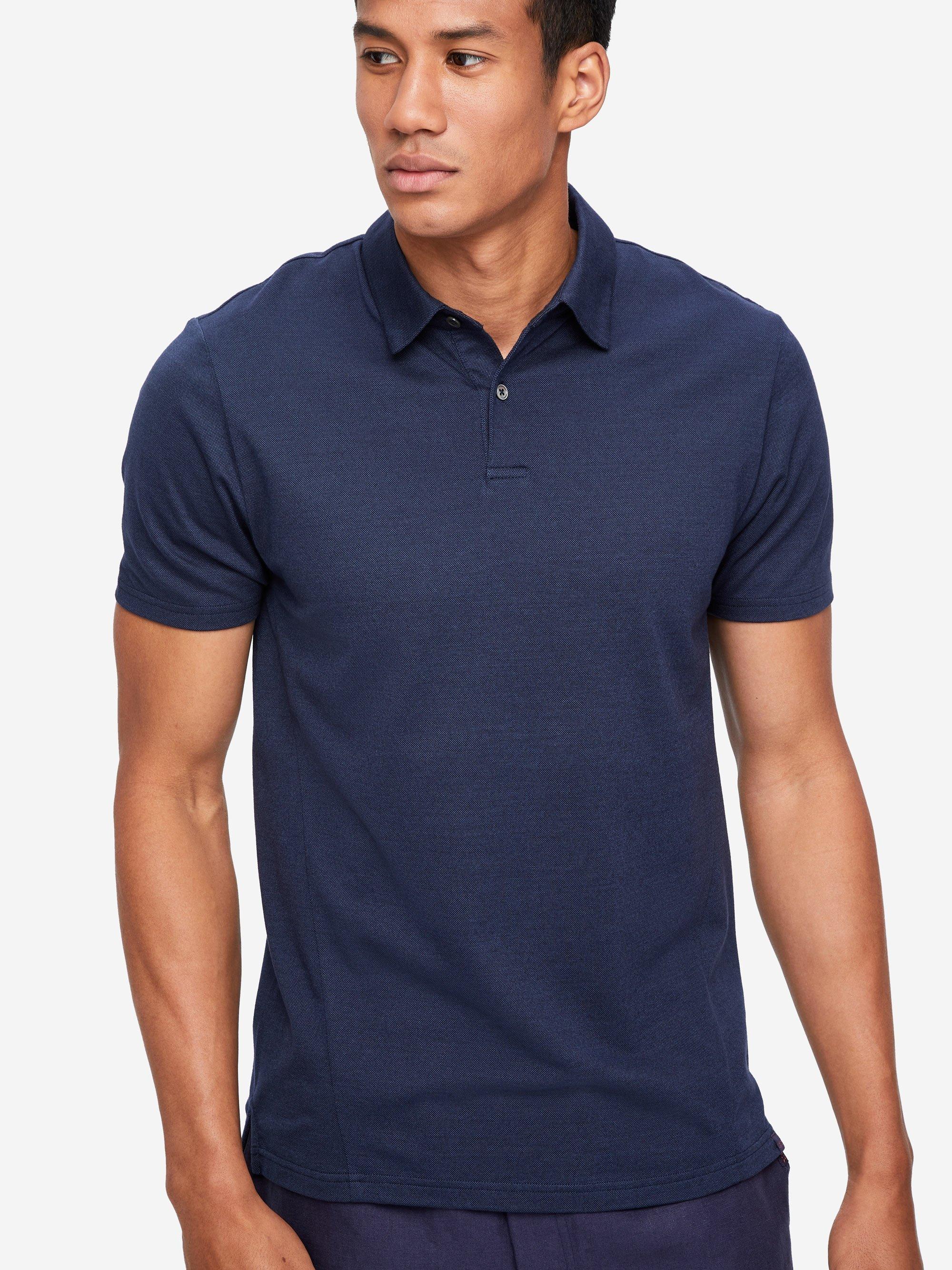 Men's Short Sleeve Polo Shirt Ramsay 2 Pique Cotton Tencel Navy