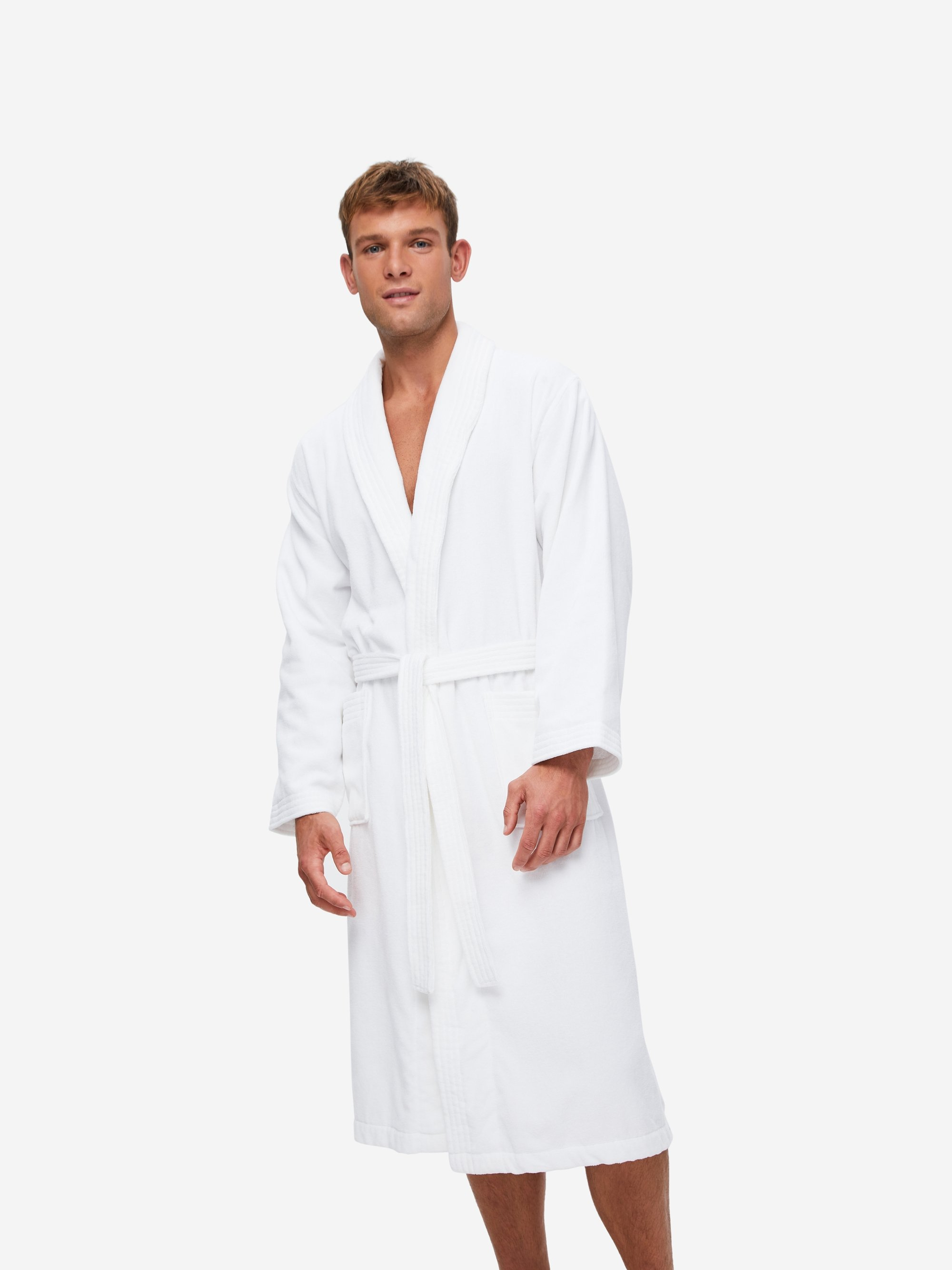 Men's Towelling Gown Triton 10 Cotton Velour White