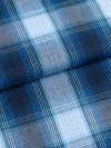 Men's Piped Dressing Gown Ranga 36 Brushed Cotton Check Blue