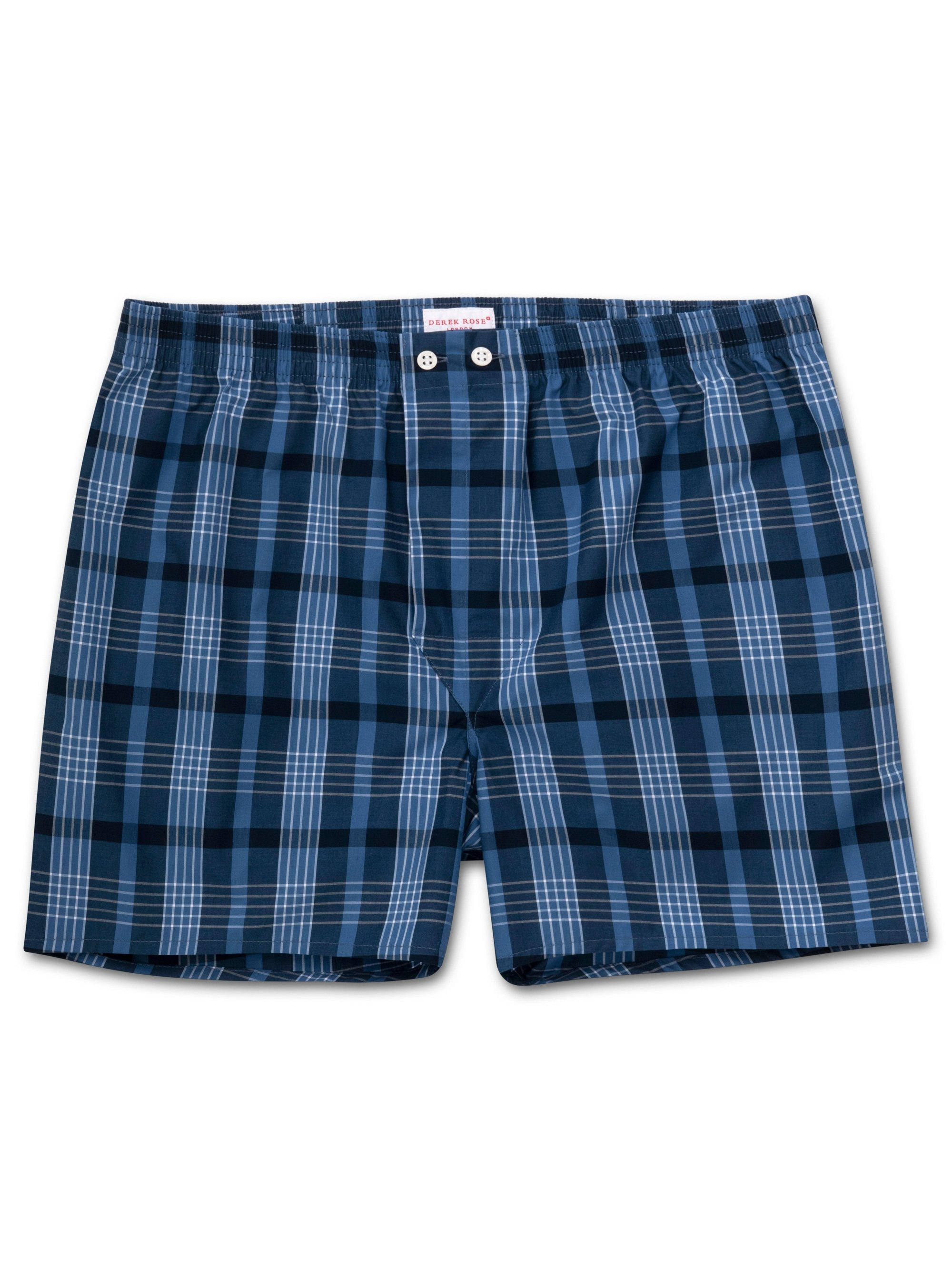 Men's Classic Fit Boxer Shorts Barker 28 Cotton Check Blue