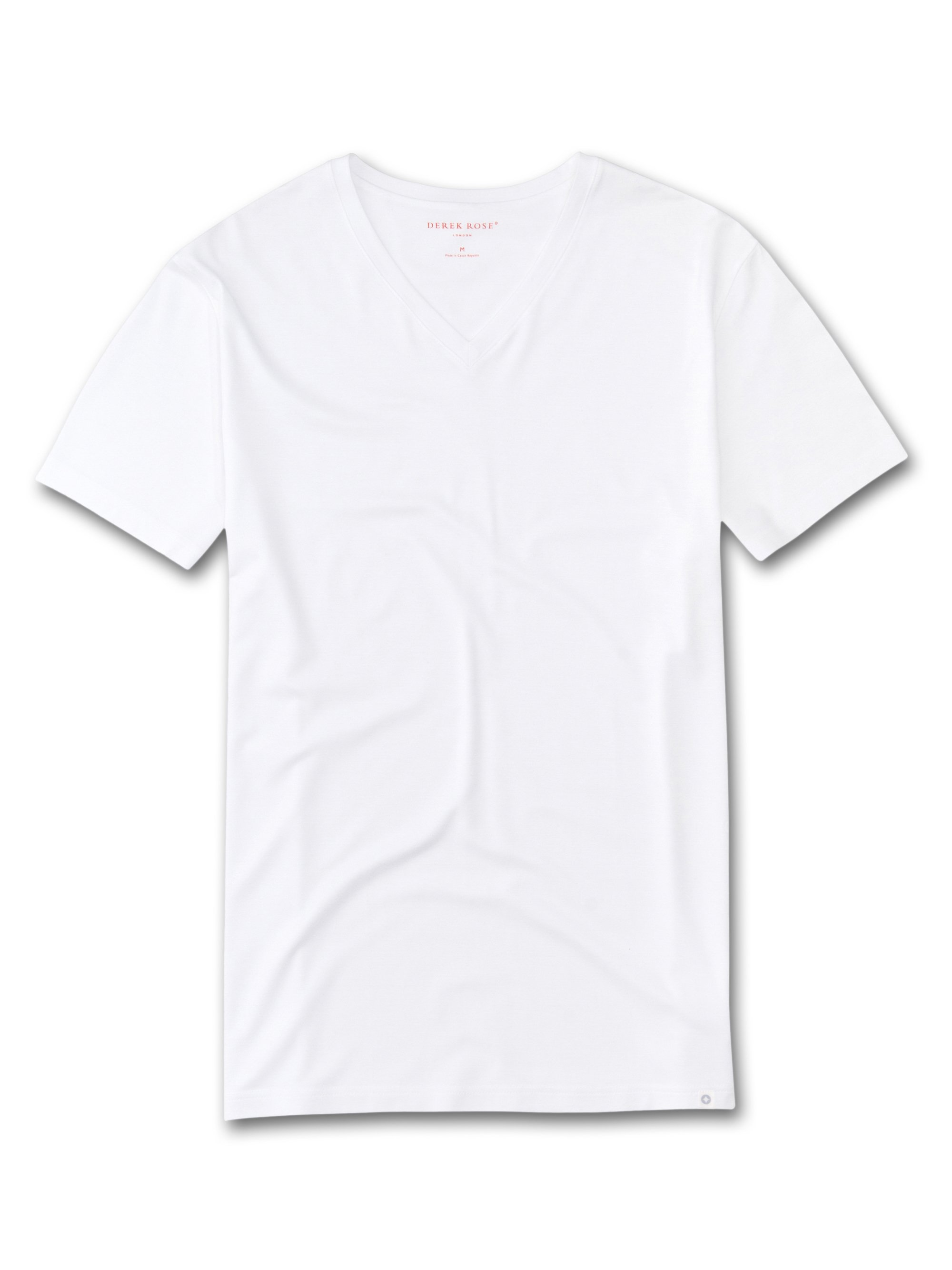 Men's Short Sleeve V-Neck T-Shirt Basel Micro Modal White