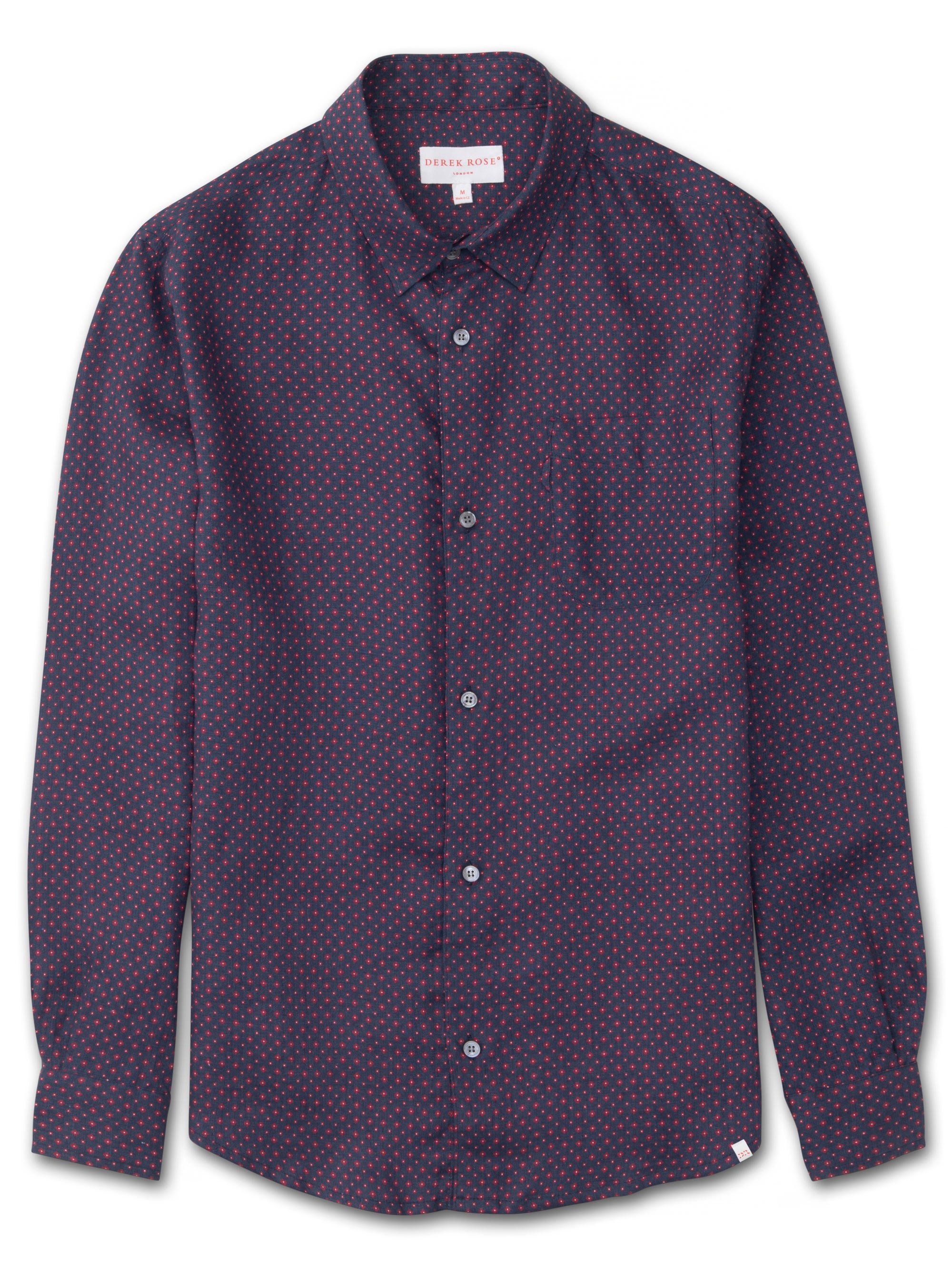 Men's Linen Shirt Milan 8 Pure Linen Navy