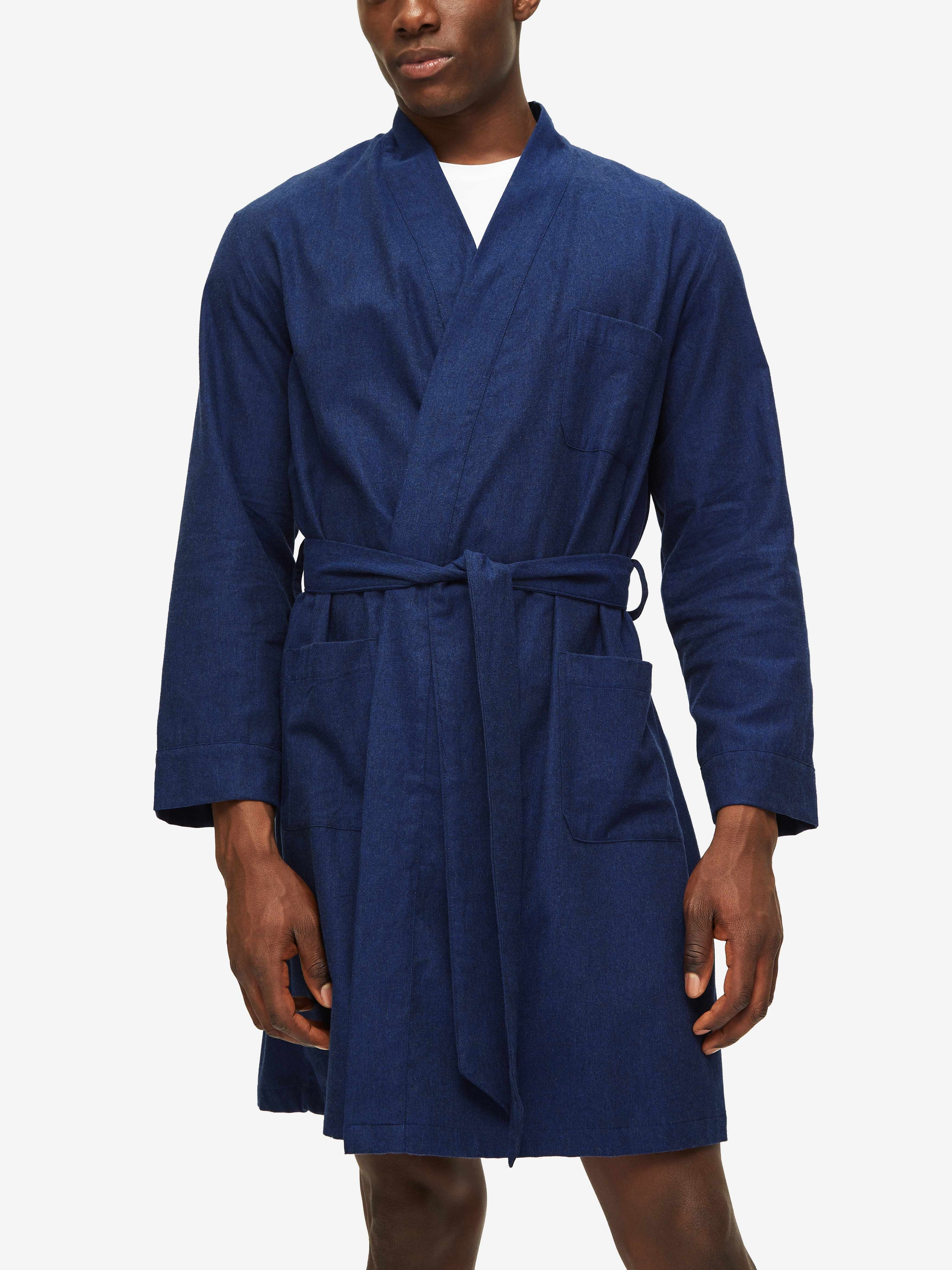 Men's Lounge Gown Balmoral 3 Brushed Cotton Navy