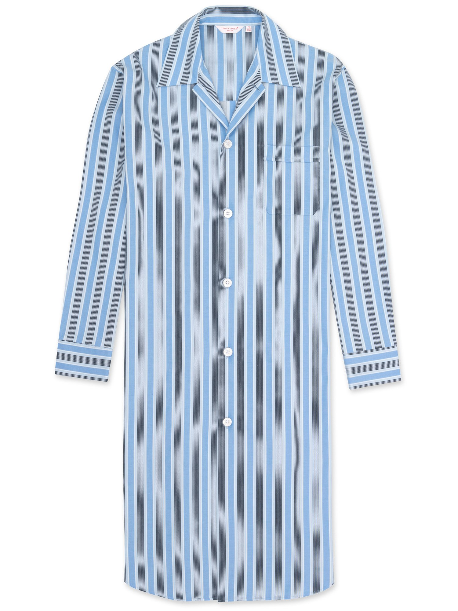 Men's Button-Through Nightshirt Mayfair 66 Cotton Satin Stripe Blue
