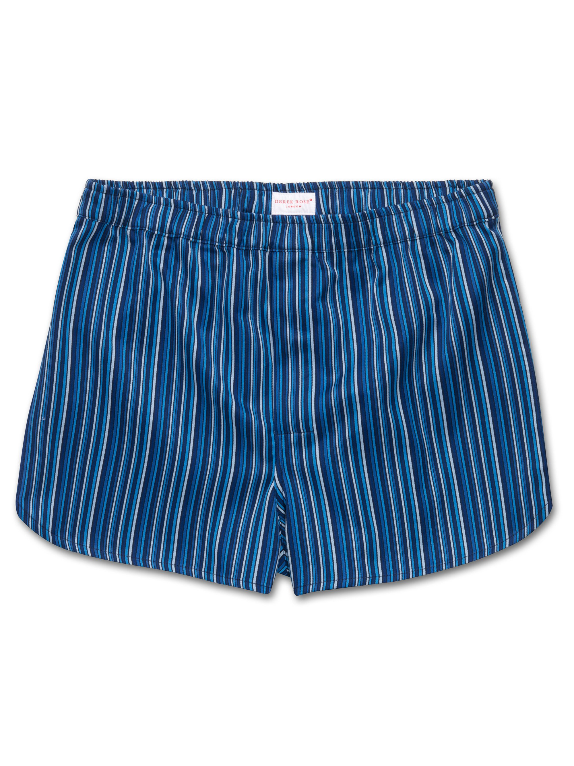 Men's Modern Fit Boxer Shorts Wellington 40 Cotton Full Satin Stripe Blue