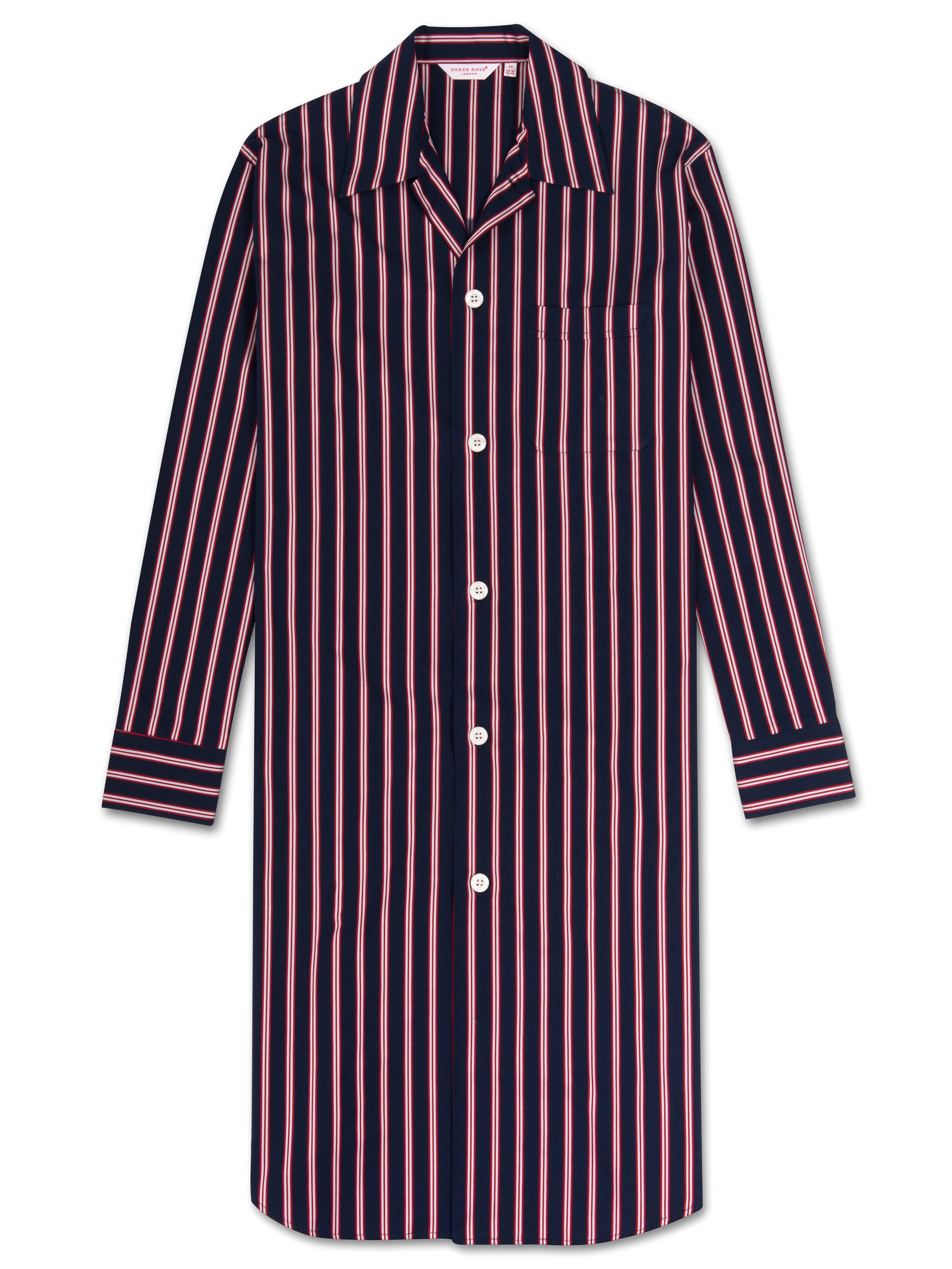 Men's Button-Through Nightshirt Royal 196 Cotton Satin Stripe Navy