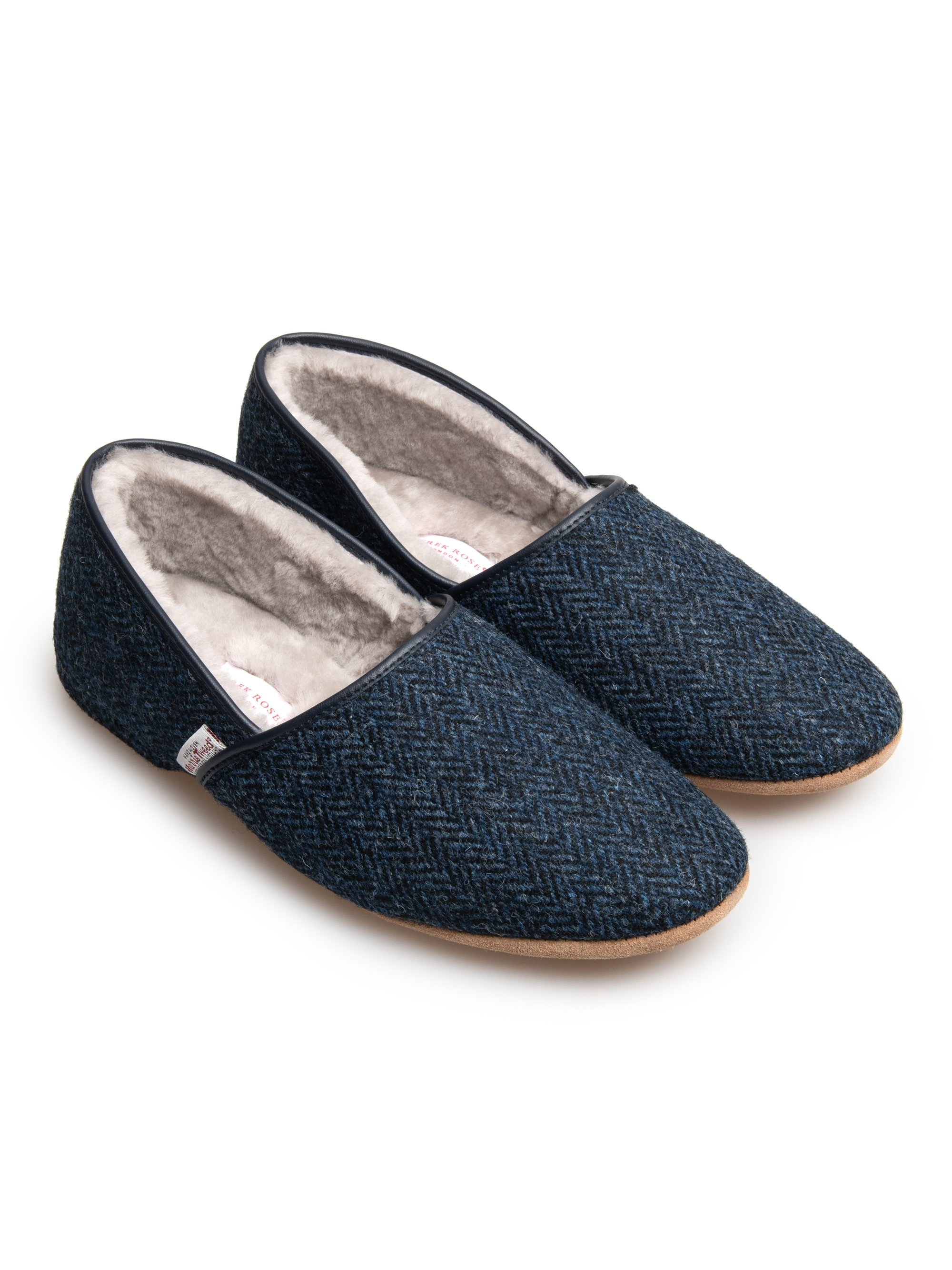 Men's Closed-Back Slipper Crawford 2 Harris Tweed Sheepskin Navy