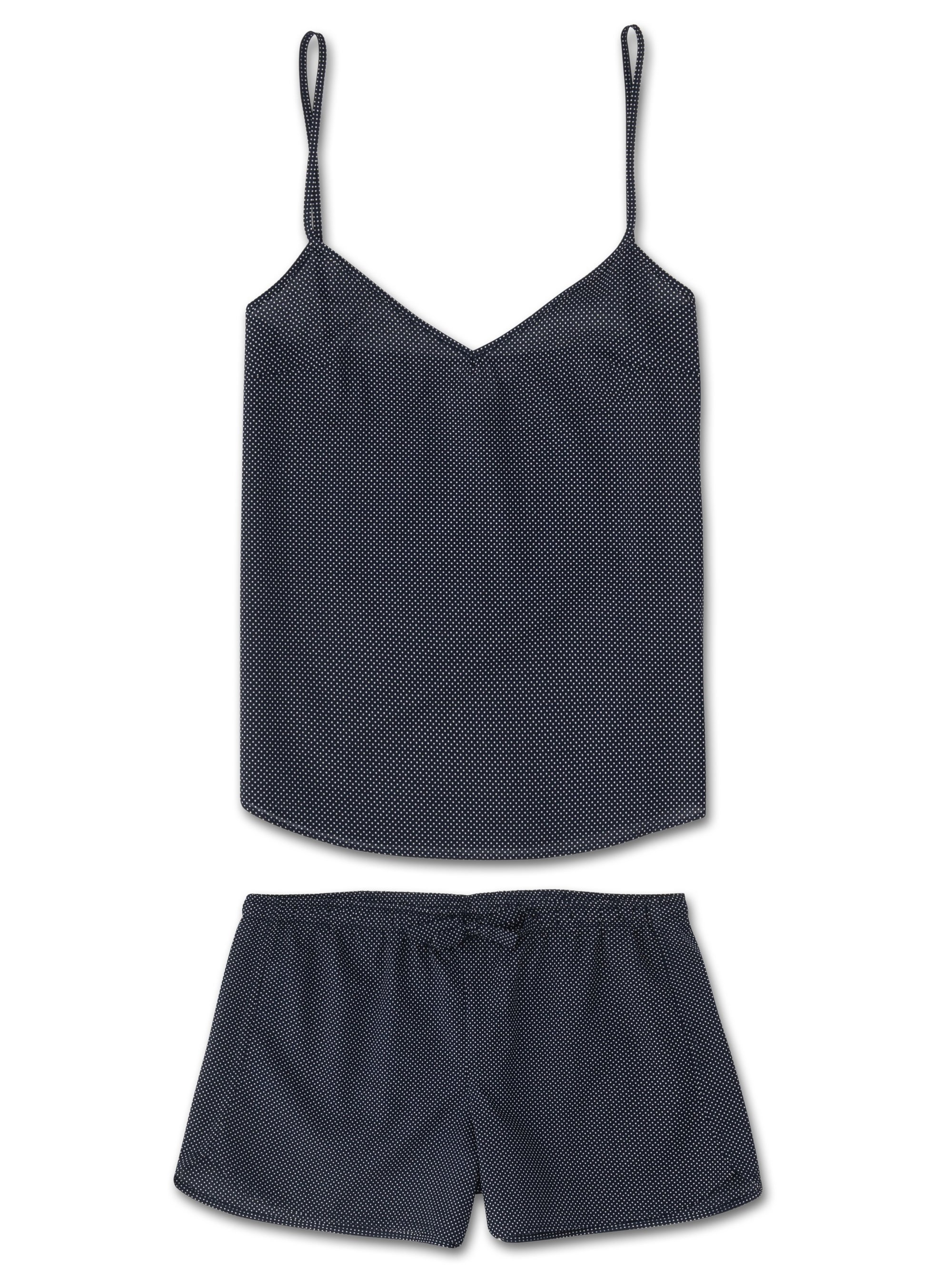 Women's Cami Short Pyjama Set Plaza 21 Pure Cotton Batiste Navy