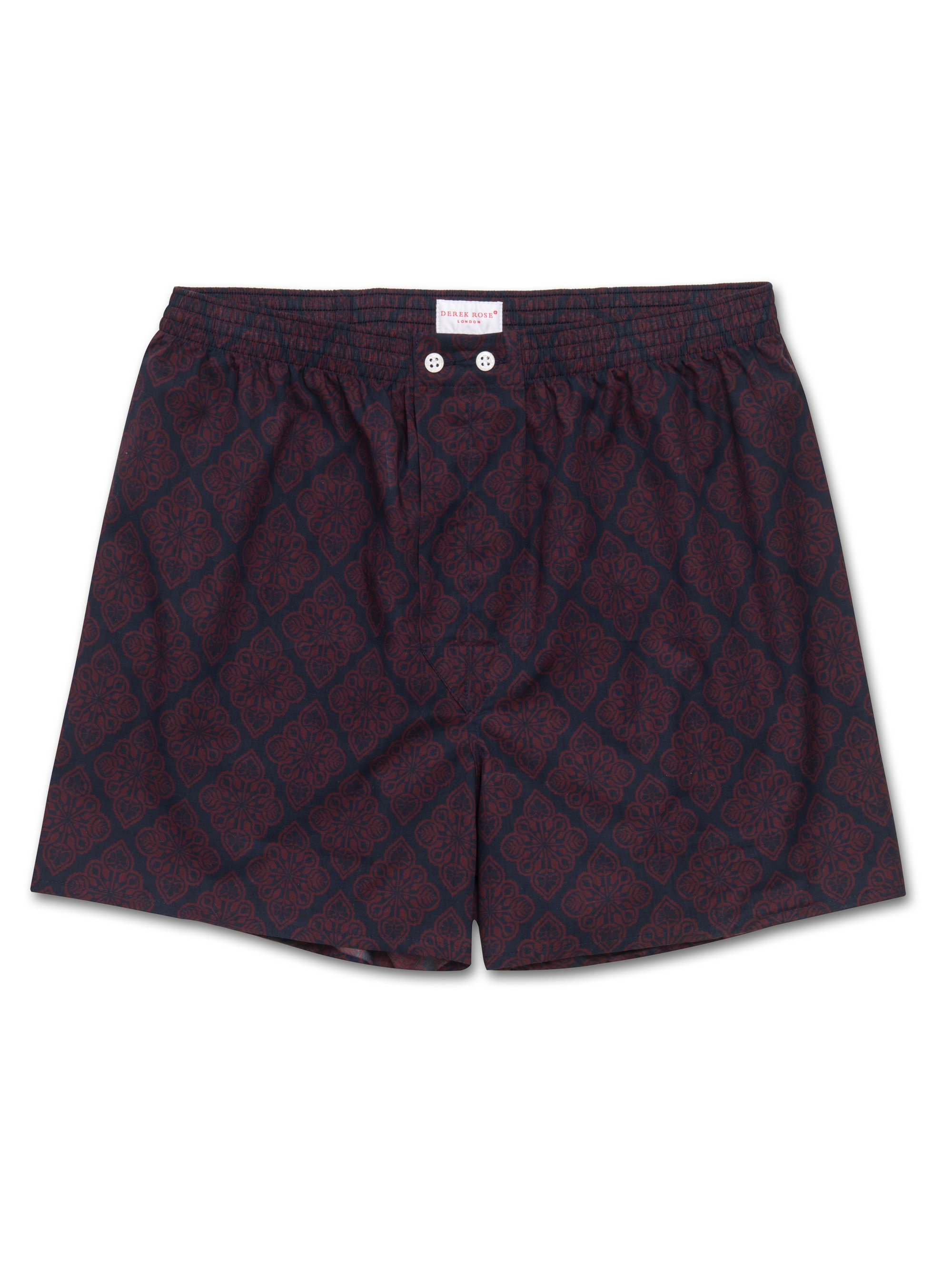 Men's Classic Fit Boxer Shorts Nelson 56 Batiste Burgundy