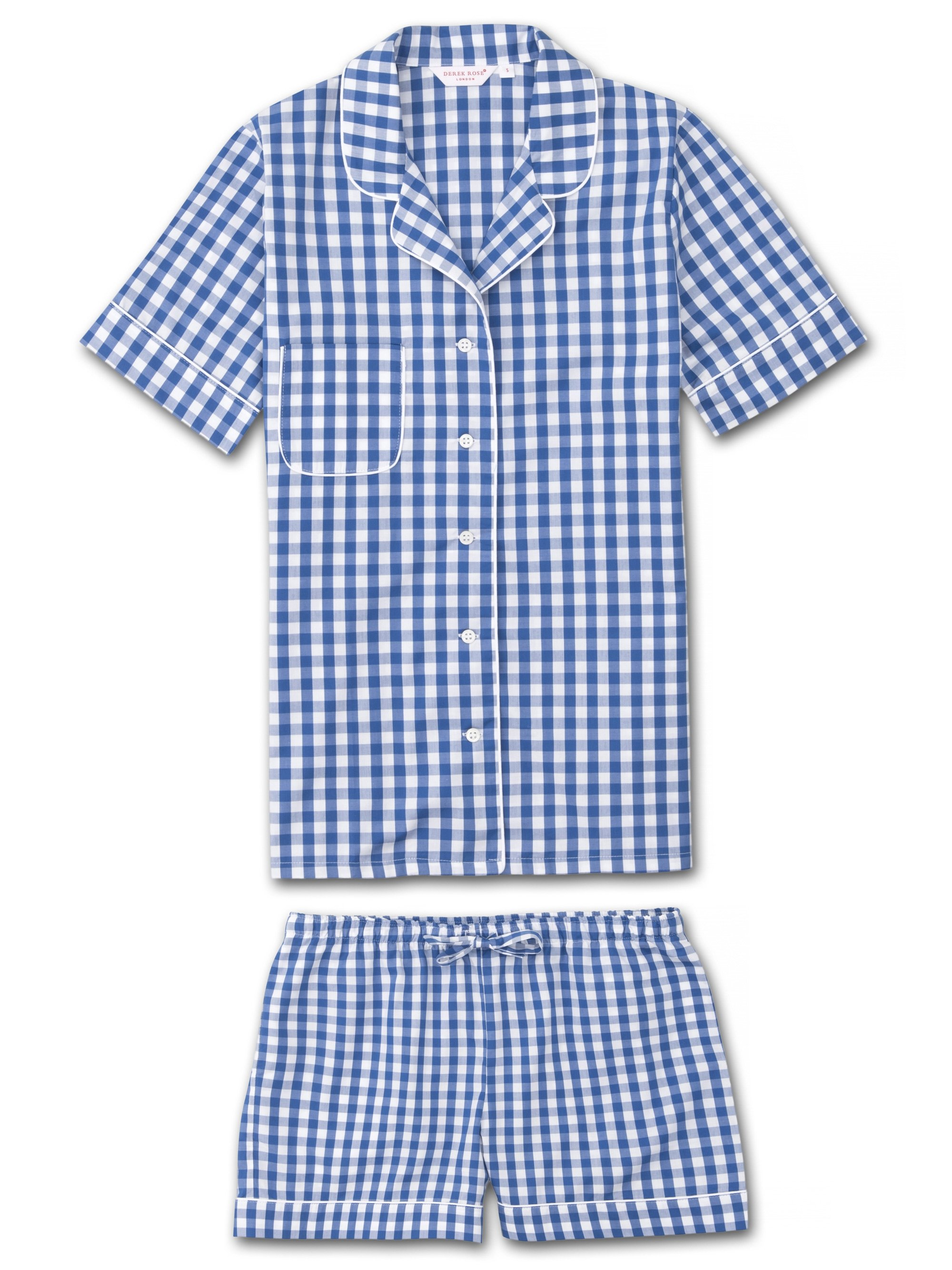 Women's Shortie Pyjamas Barker 26 Cotton Check Blue