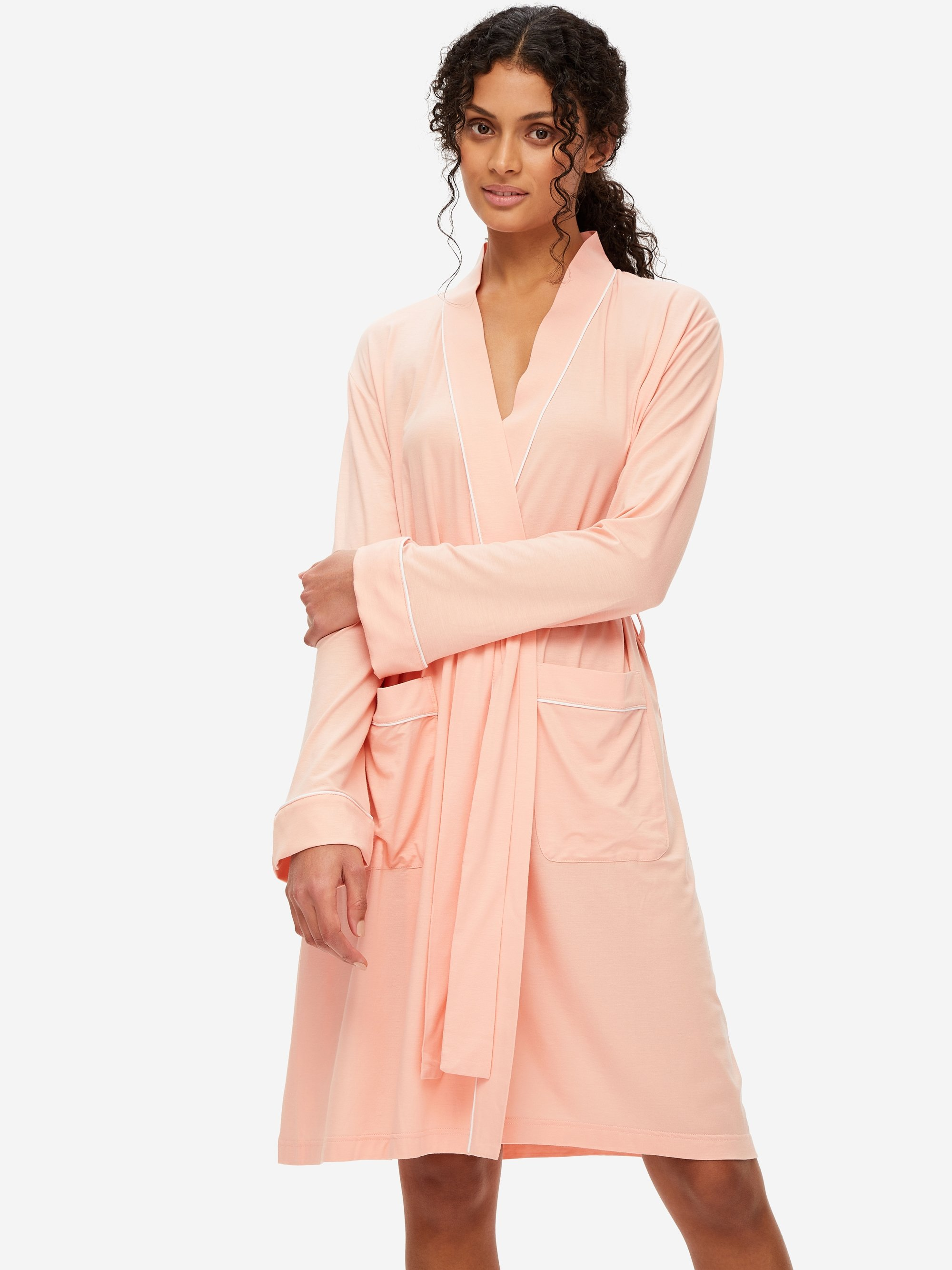 Women's Jersey Dressing Gown Lara Micro Modal Stretch Peach