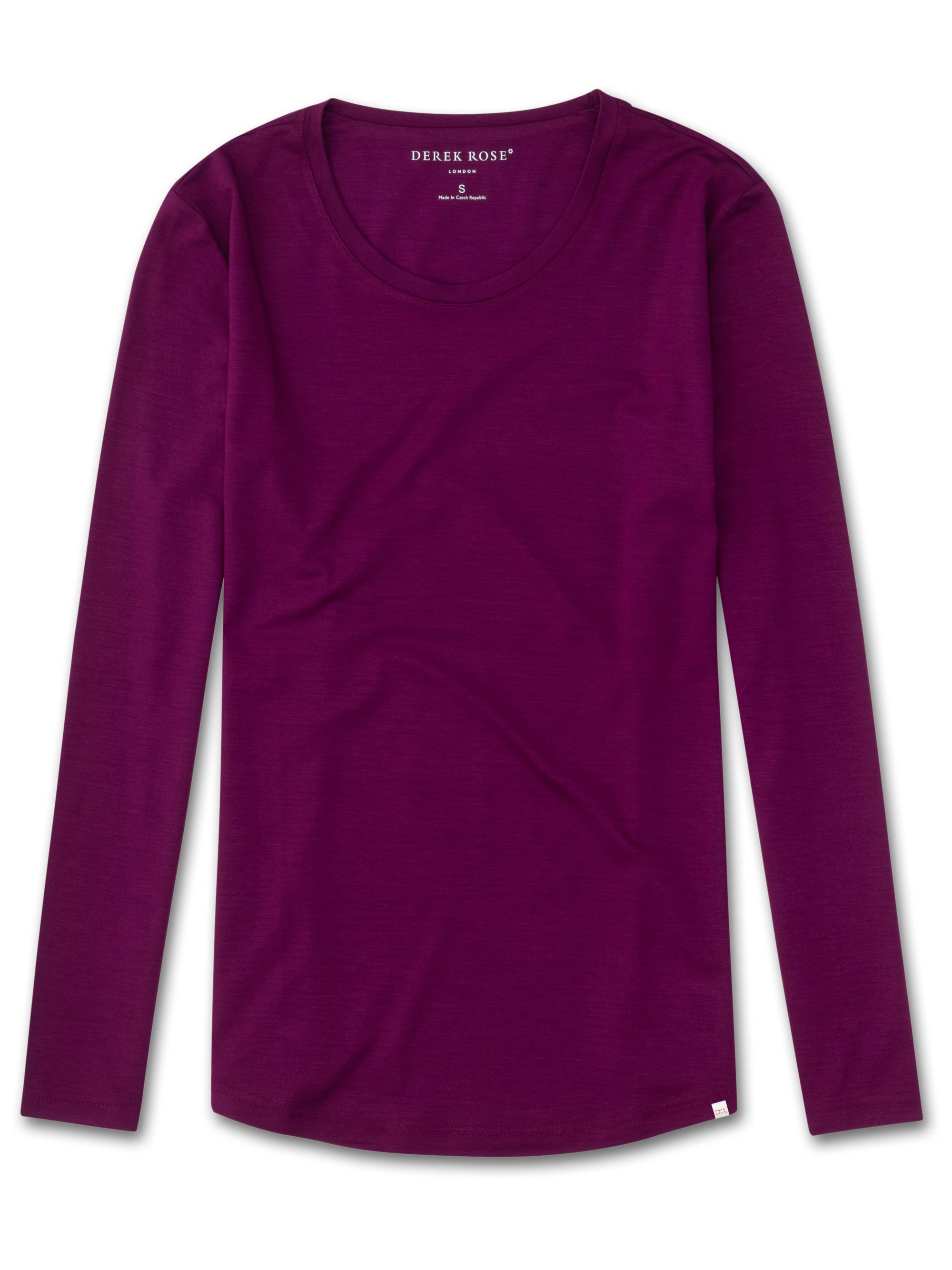 Women's Long Sleeve T-Shirt Lara Micro Modal Stretch Berry