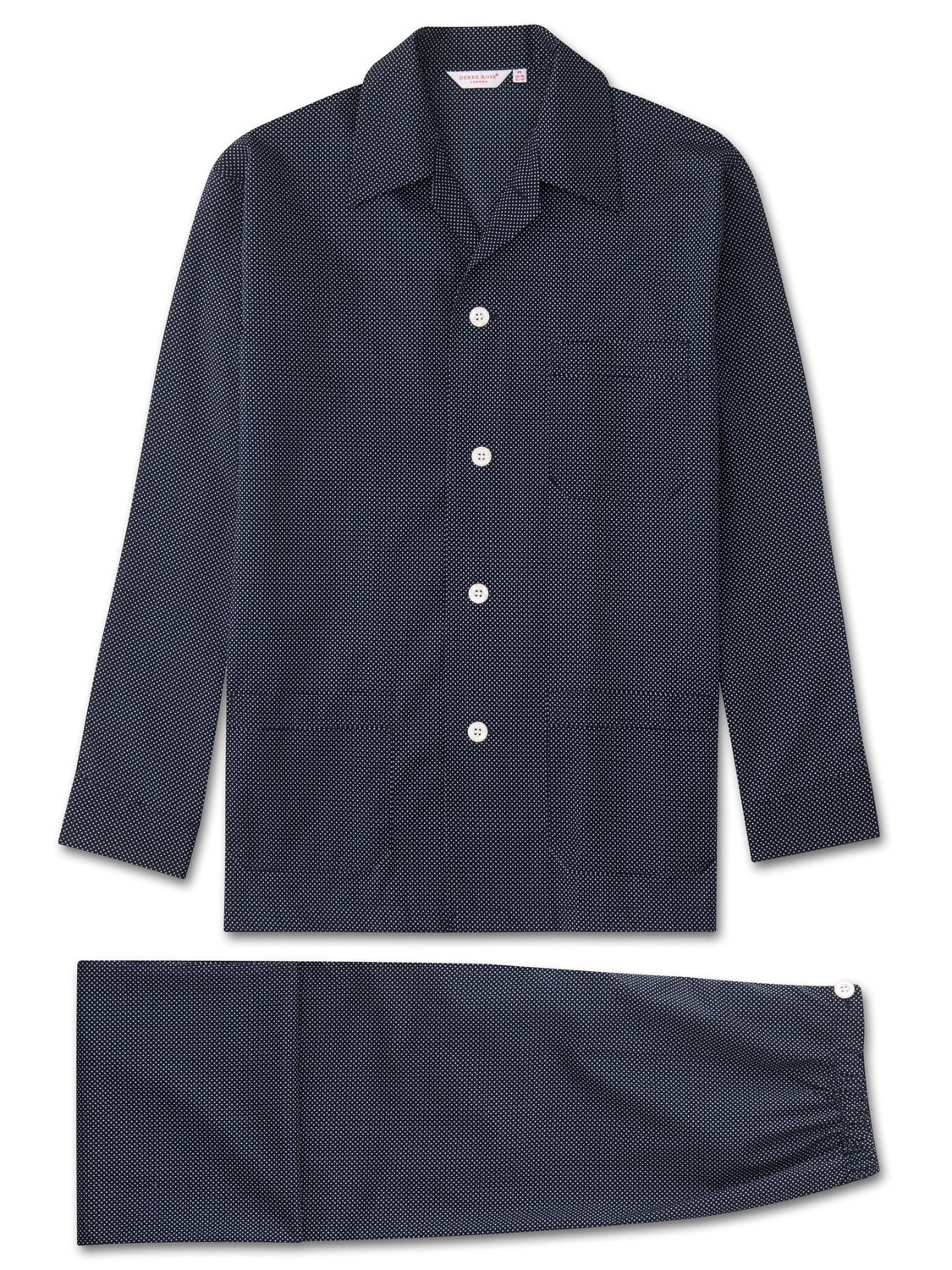 navy men's polka dot cotton pyjama