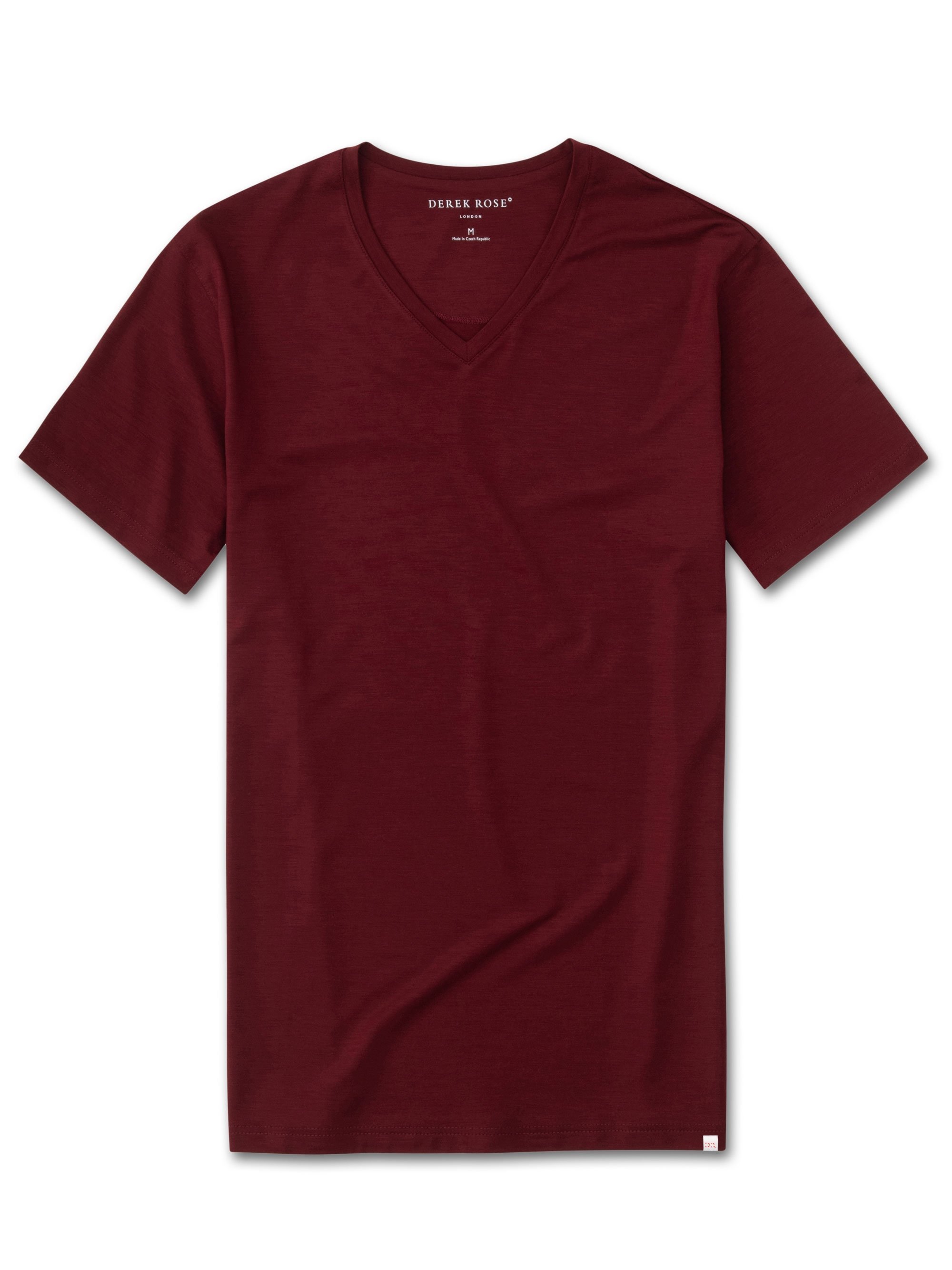 Men's Short Sleeve V-Neck T-Shirt Basel 7 Micro Modal Stretch Burgundy