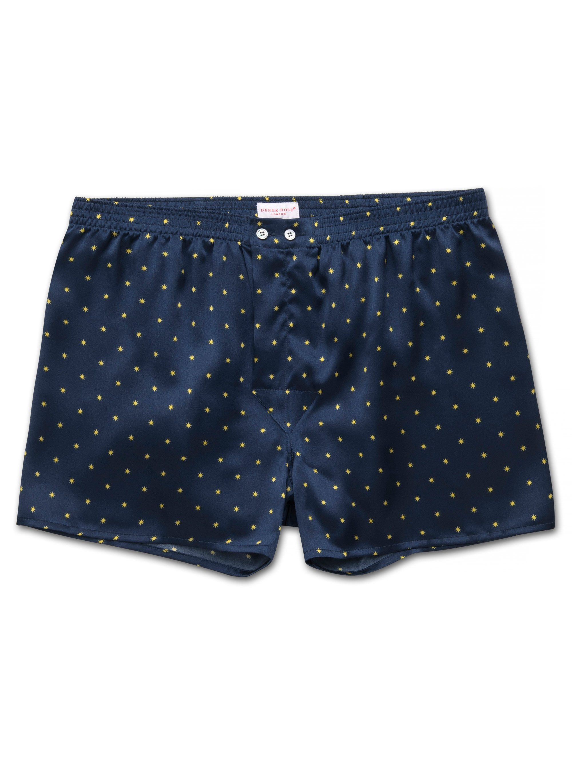Men's Classic Fit Boxer Shorts Brindisi 54 Pure Silk Satin Navy