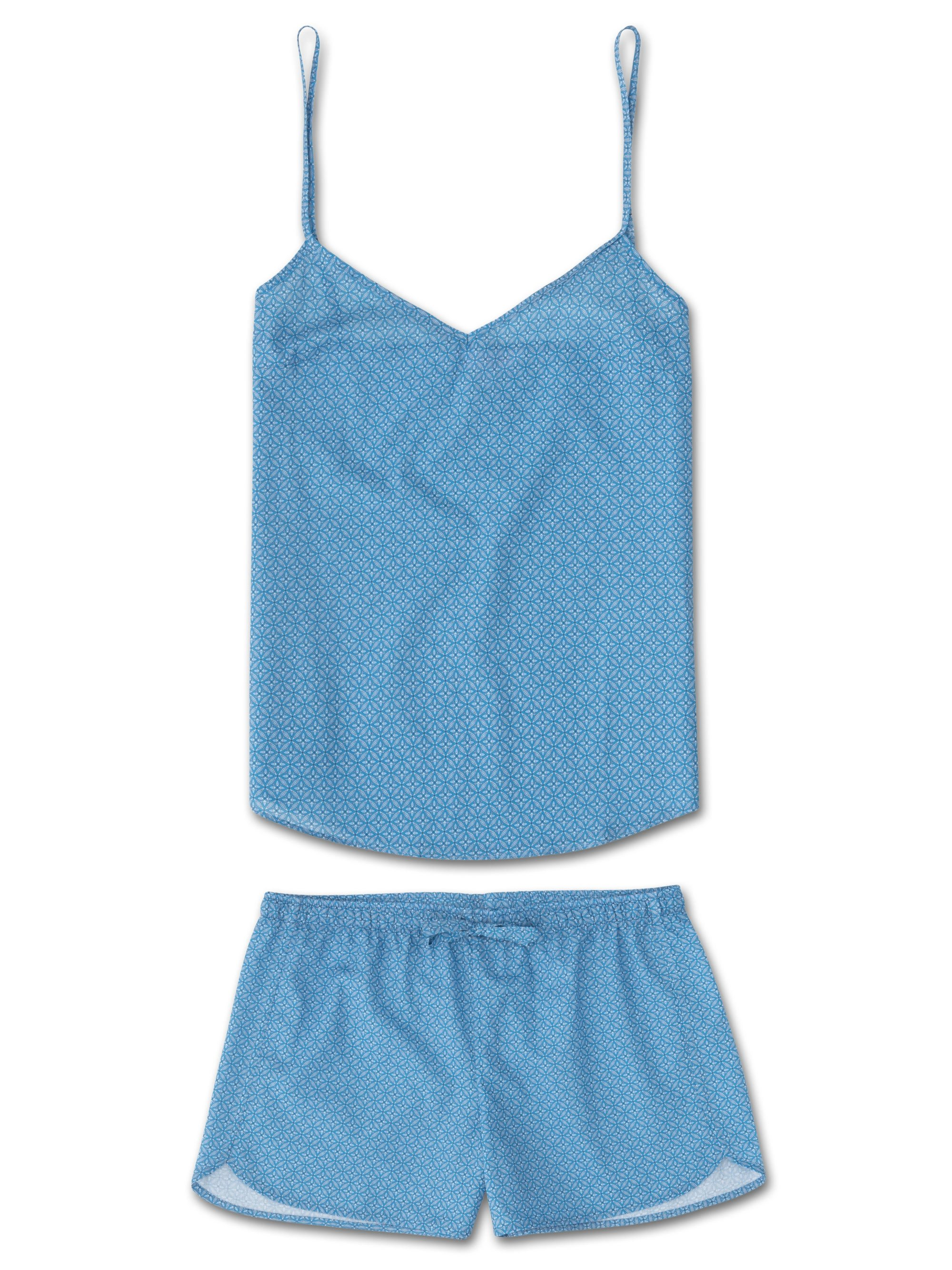 Women's Cami Short Pyjama Set Ledbury 21 Cotton Batiste Blue