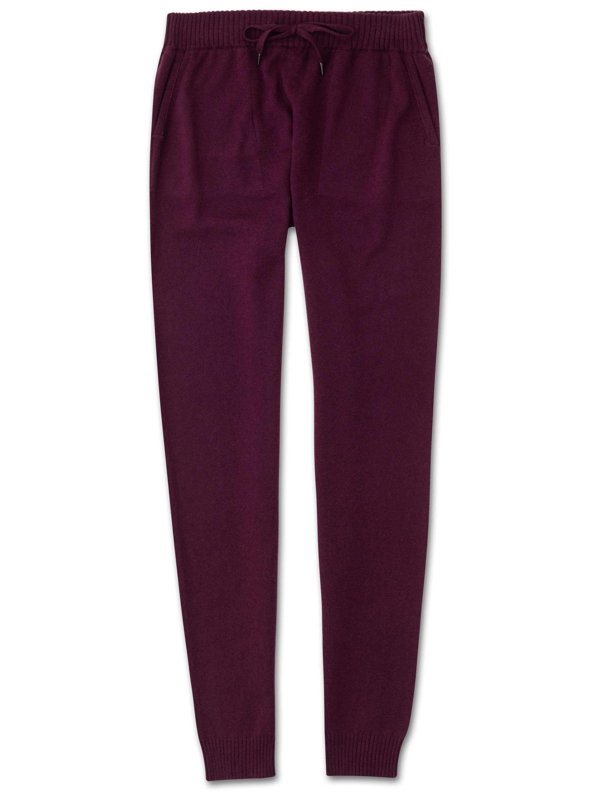 Women's Cashmere Track Pants Finley Pure Cashmere Berry