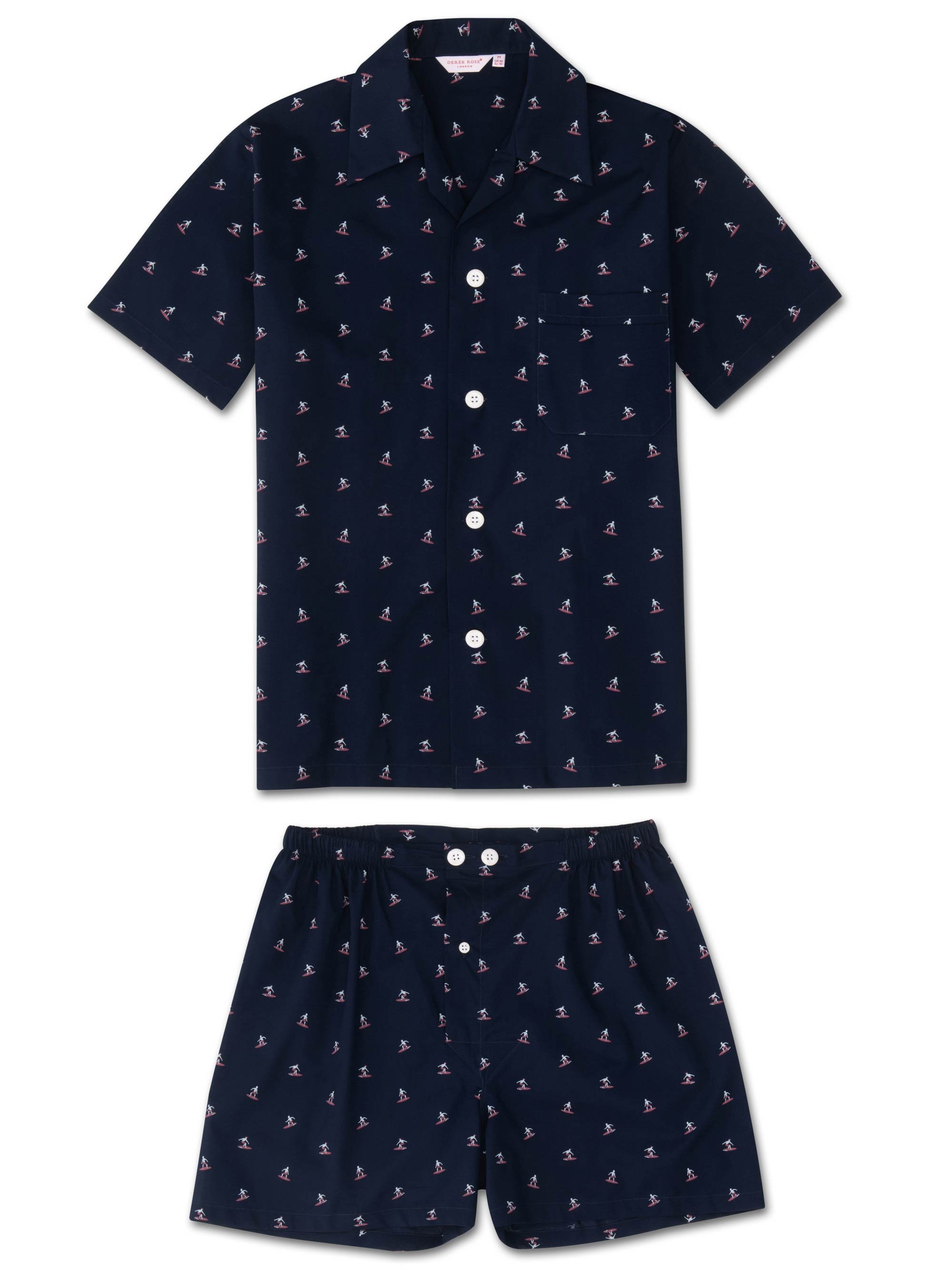Men's Short Pyjamas Nelson 69 Cotton Batiste Navy