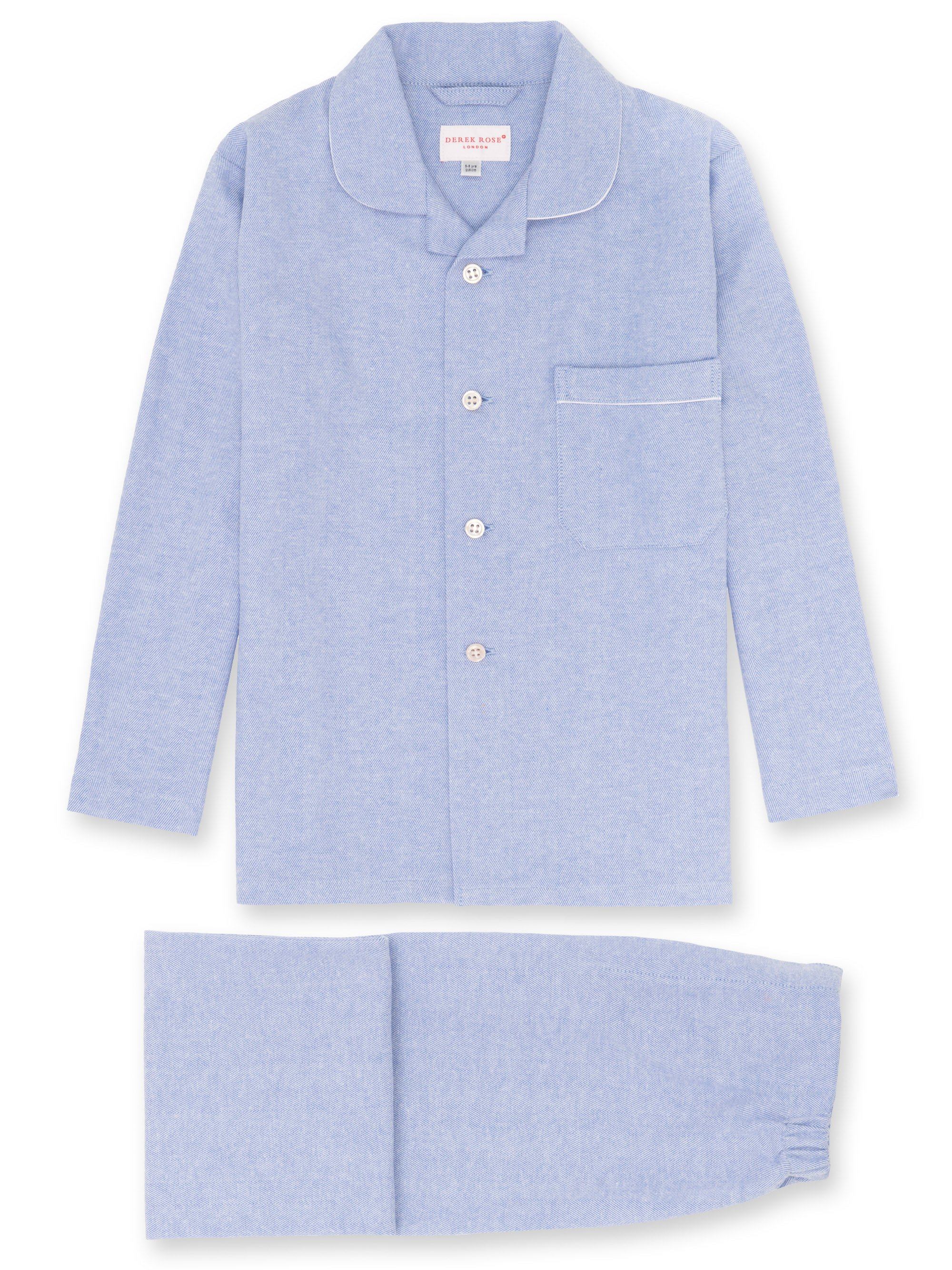 Boys' Pyjamas Arran 24 Brushed Herringbone Cotton Blue