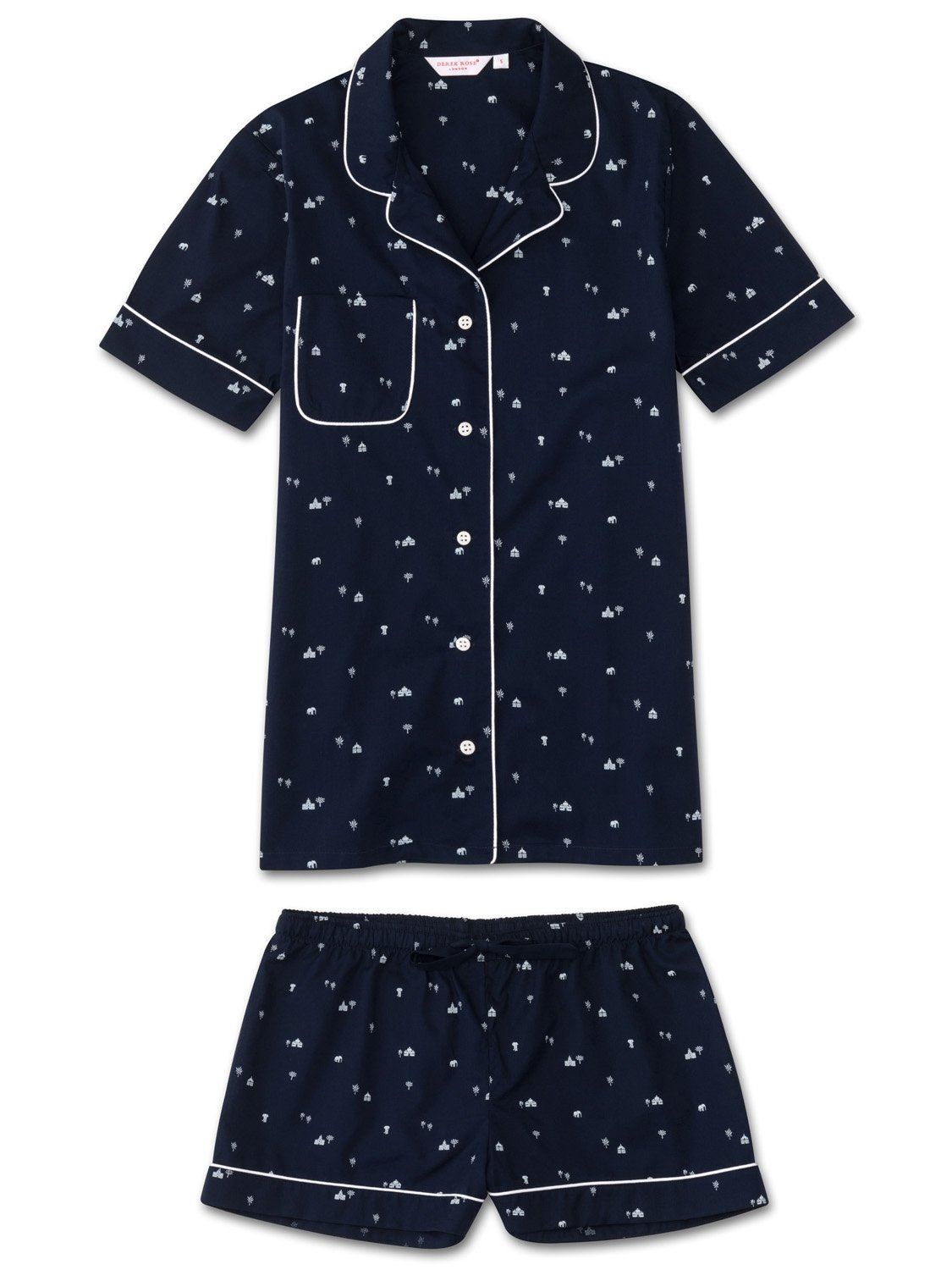 Women's Shortie Pyjamas Nelson 62 Cotton Batiste Navy