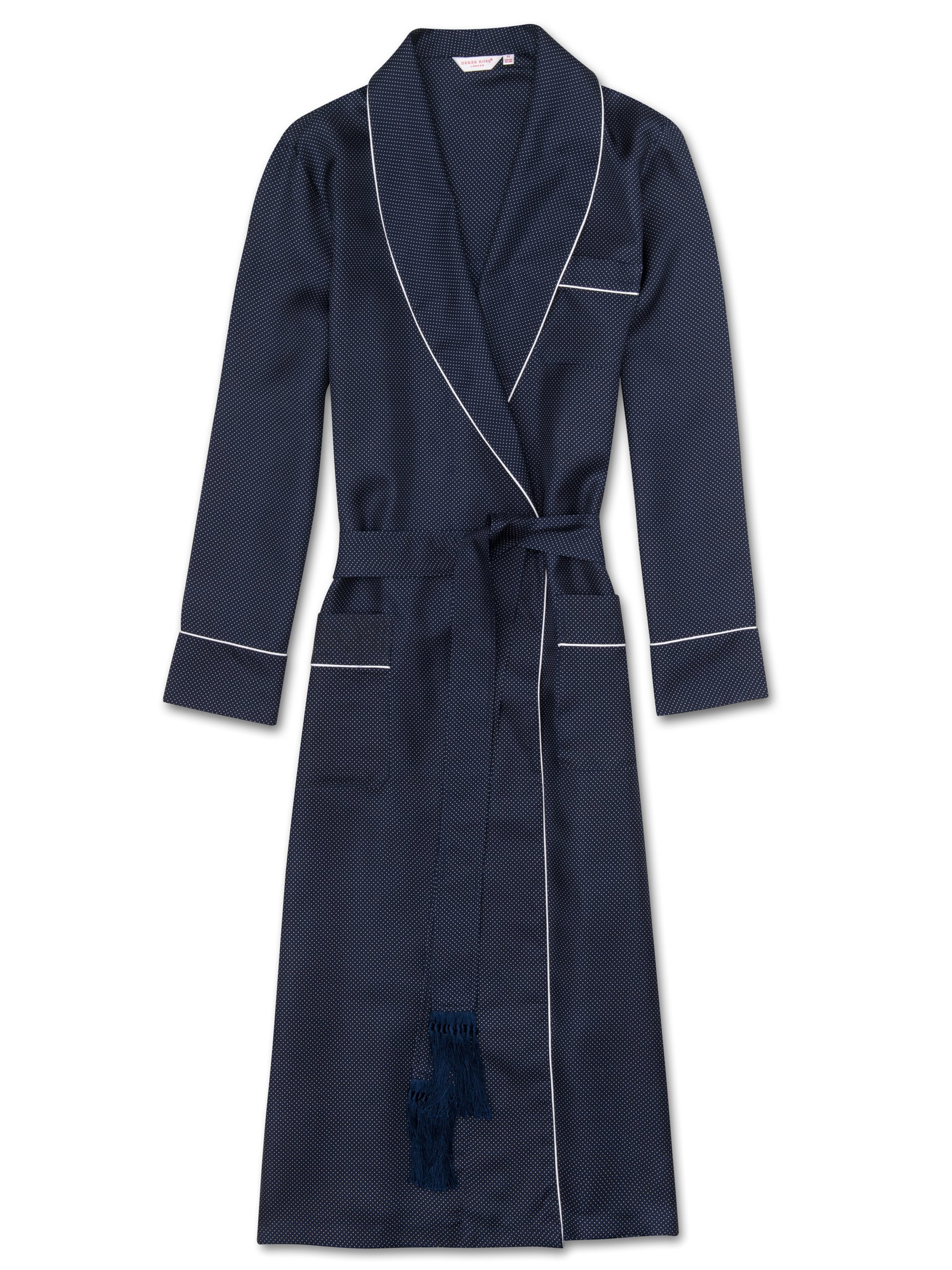 Men's Tasseled Belt Dressing Gown Otis 9 Pure Silk Navy