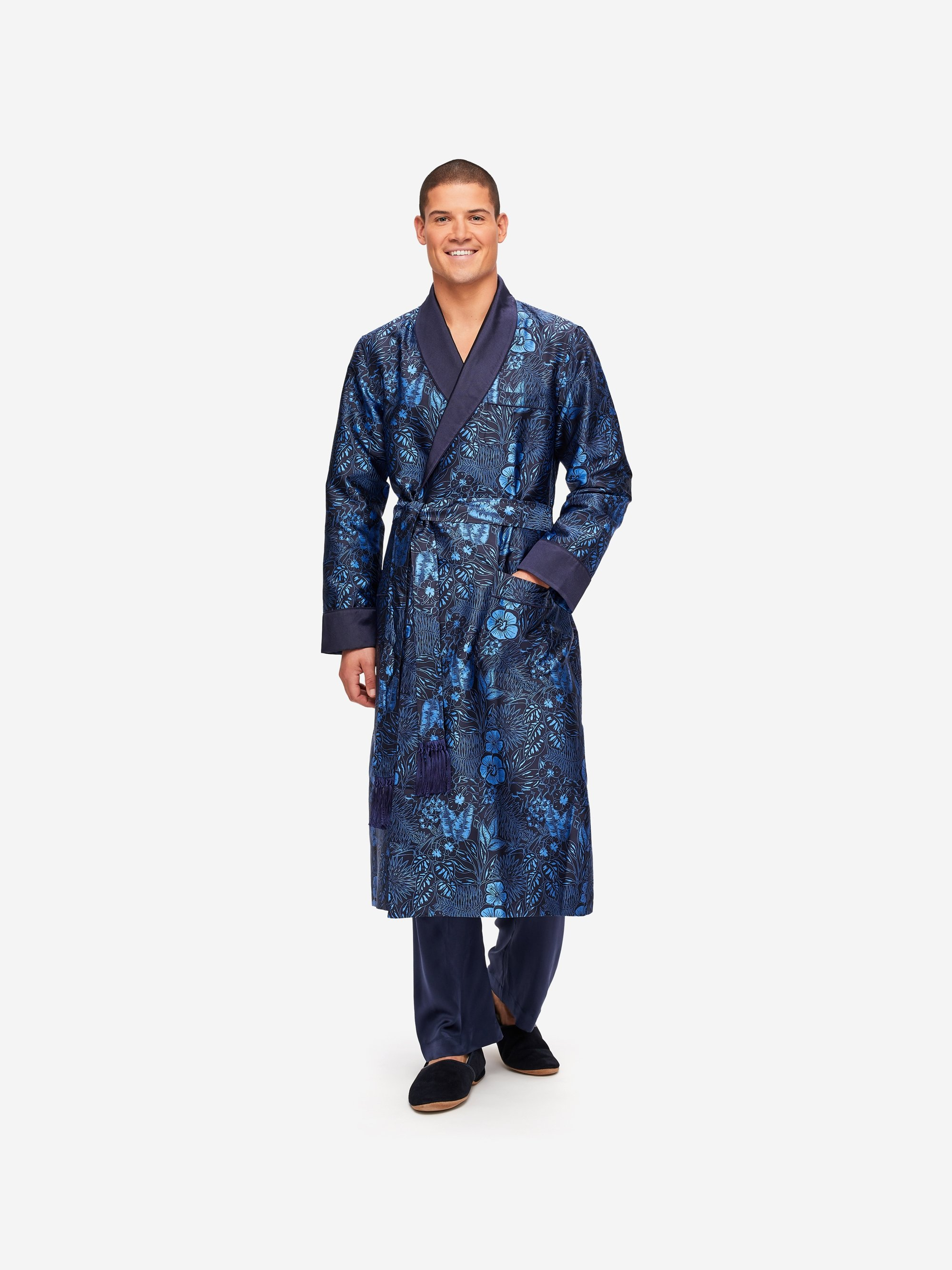 Men's Tasseled Belt Dressing Gown Verona 52 Pure Silk Jacquard Navy