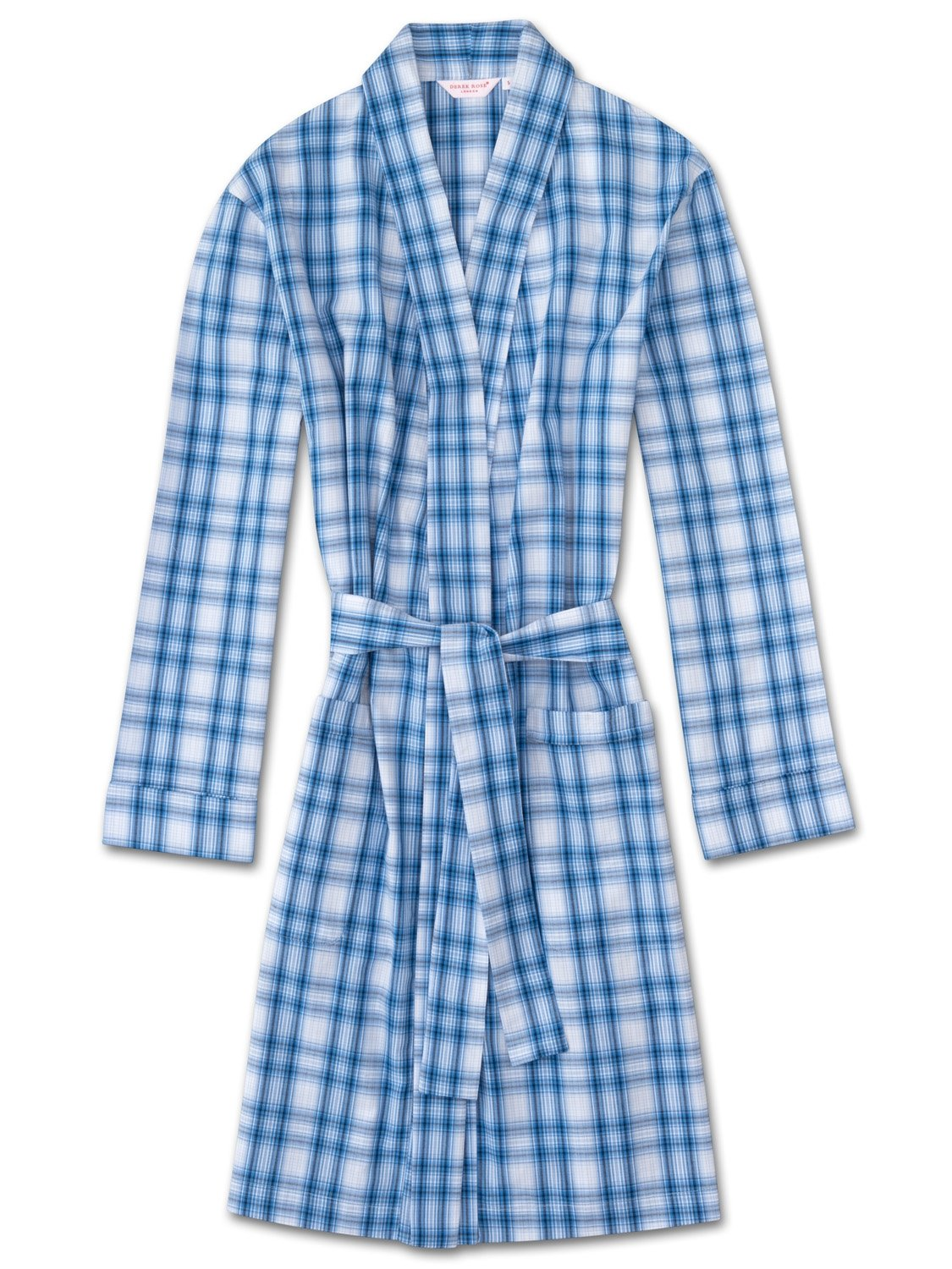 Women's Dressing Gown Ranga 30 Cotton Check Blue