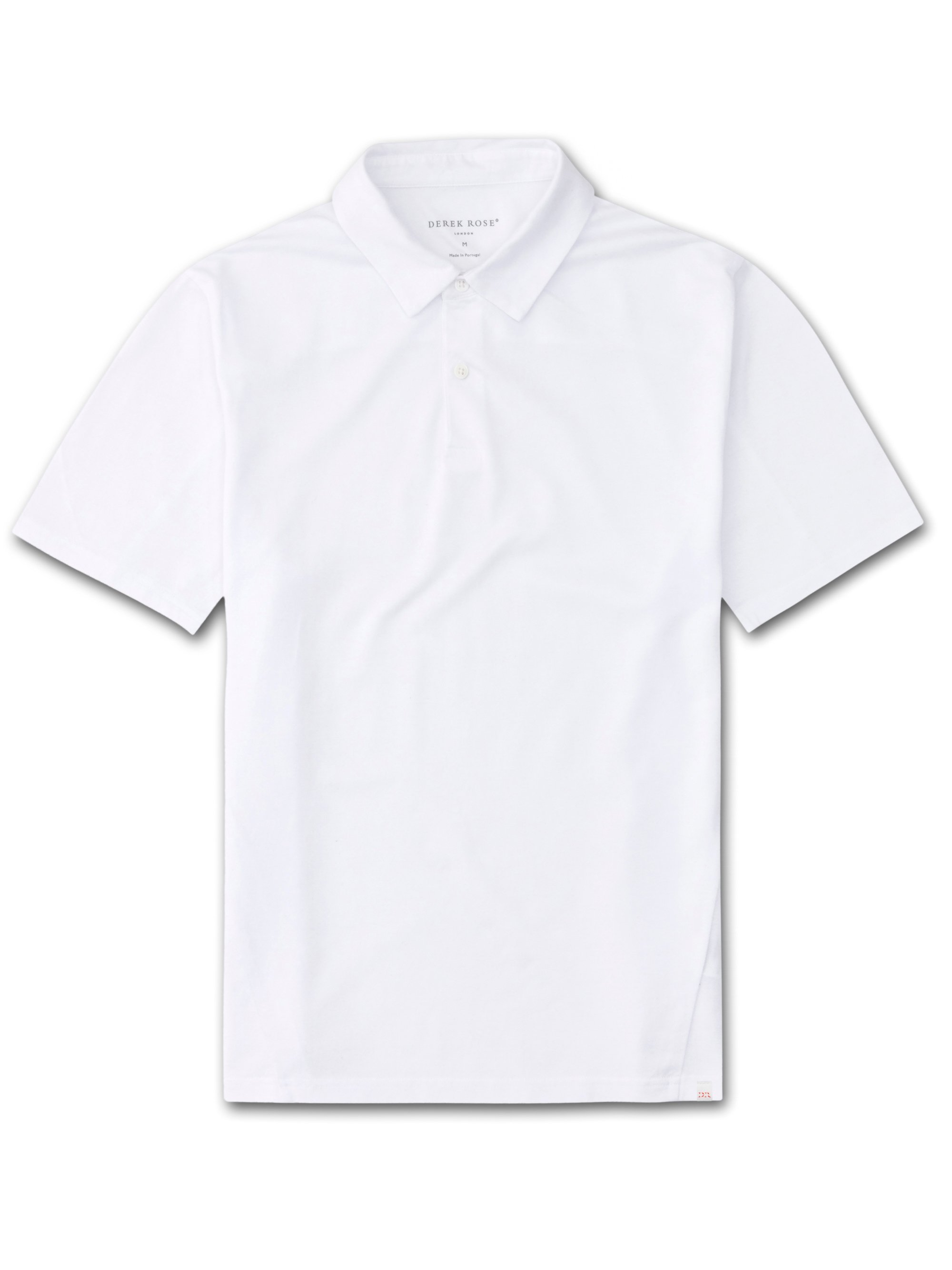 Men's Short Sleeve Polo Shirt Ramsay Pique Cotton Tencel White