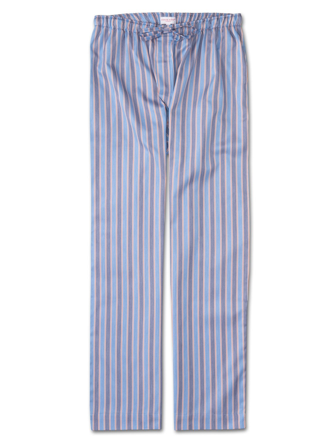 Men's Lounge Trousers Elite 47 Cotton Full Satin Stripe Blue