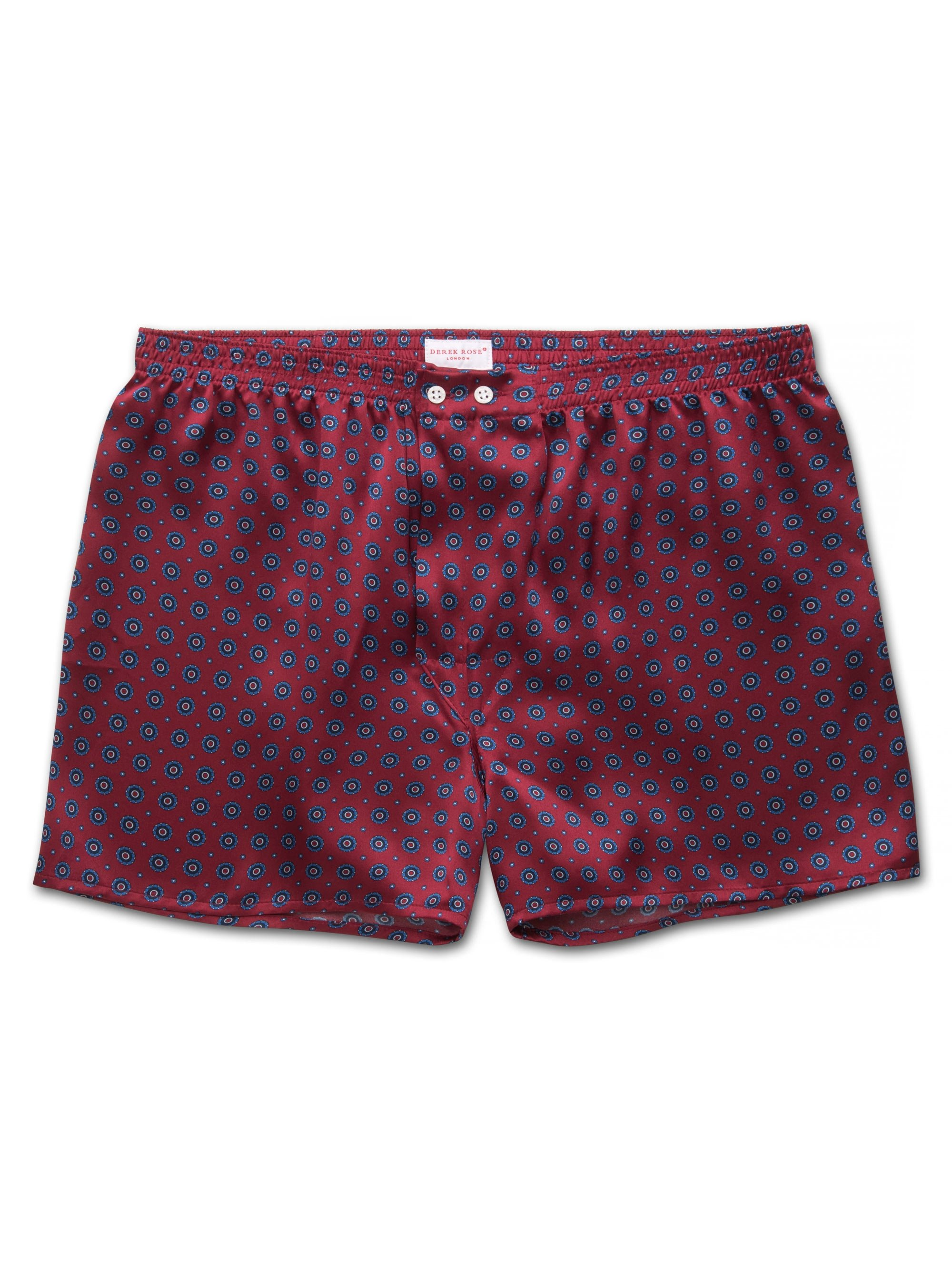 Men's Classic Fit Boxer Shorts Brindisi 52 Pure Silk Satin Red