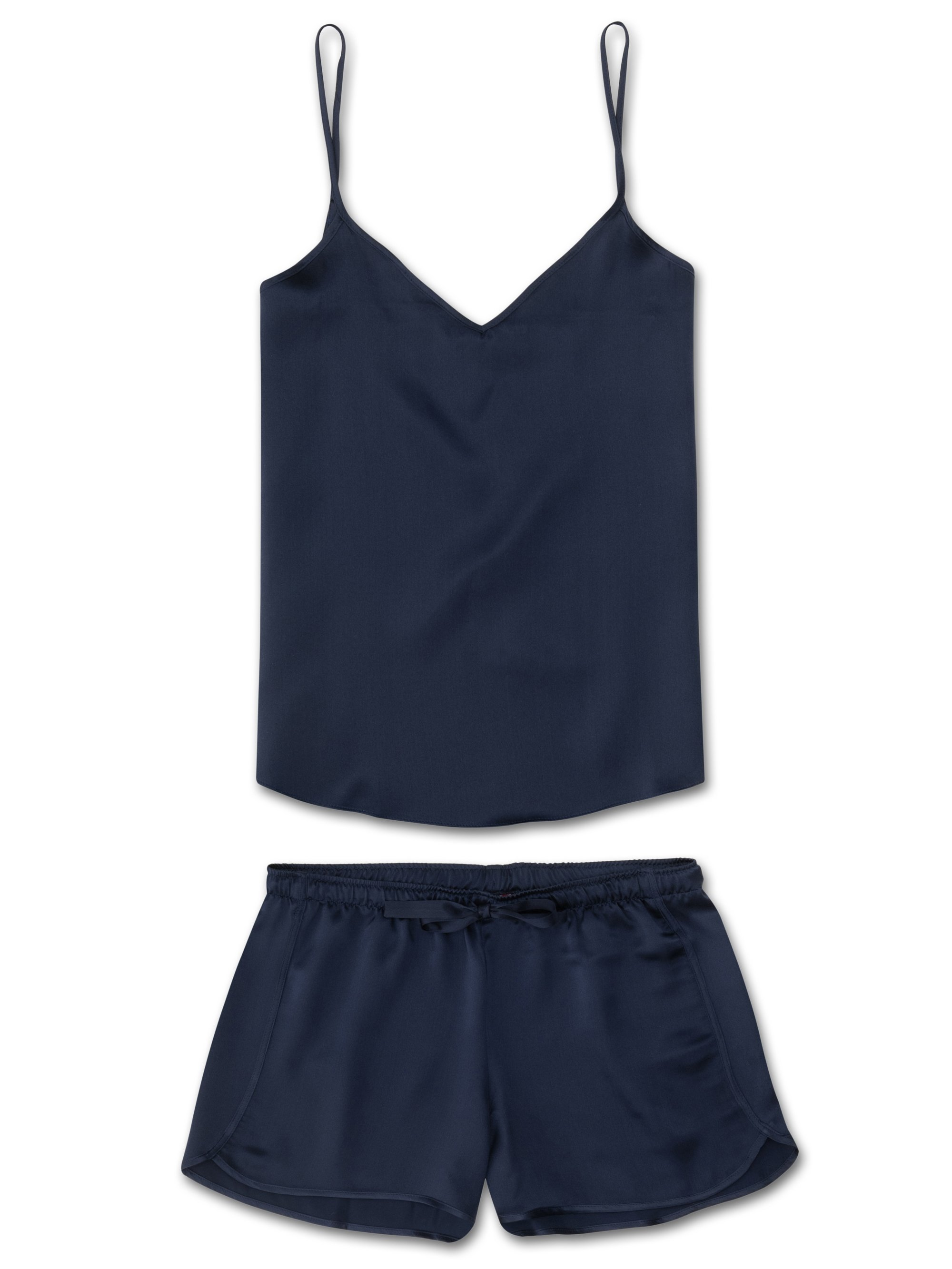 Women's Cami Short Pyjama Set Bailey Pure Silk Satin Navy