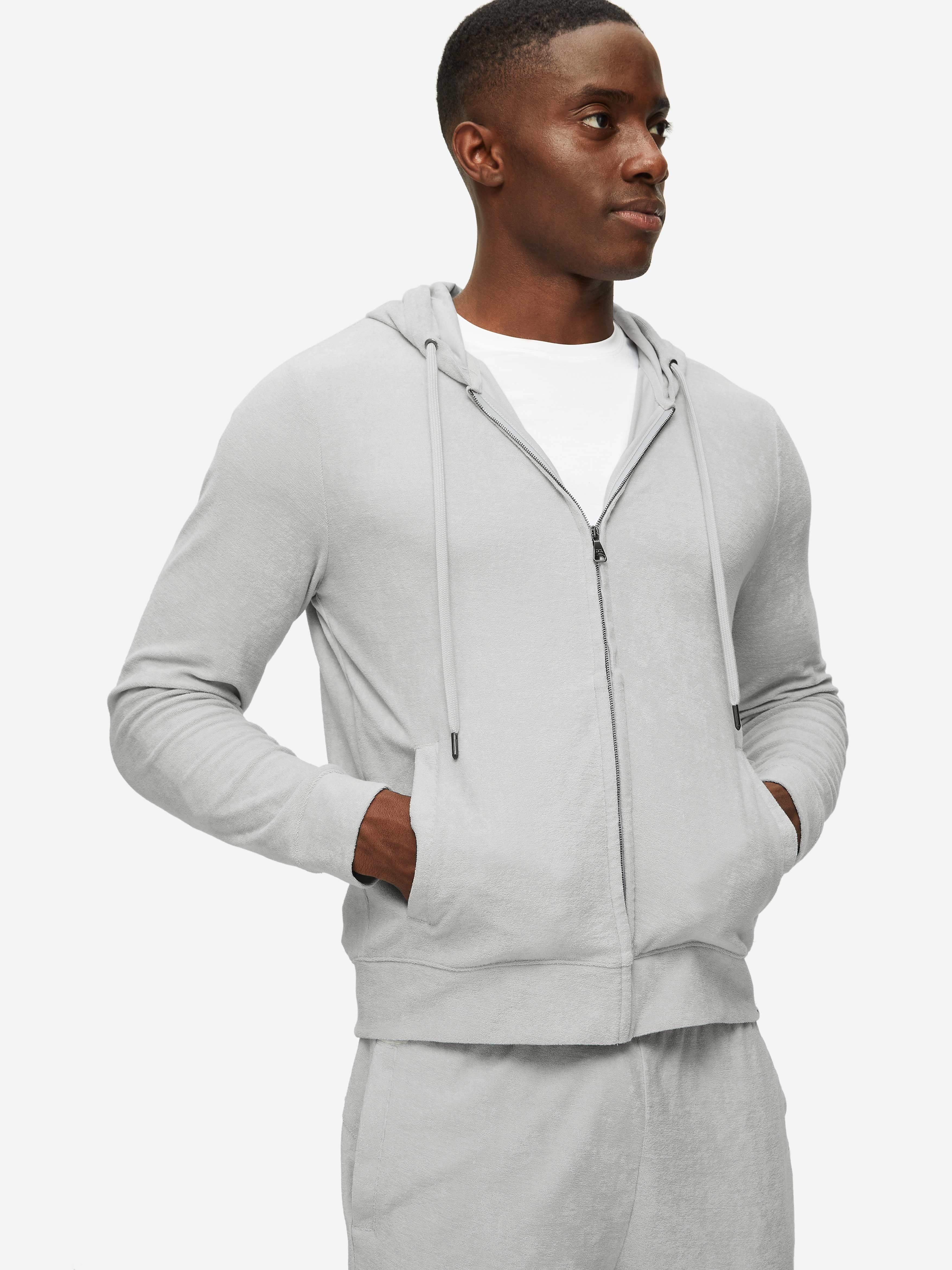 Men's Hoodie Isaac Terry Cotton Silver