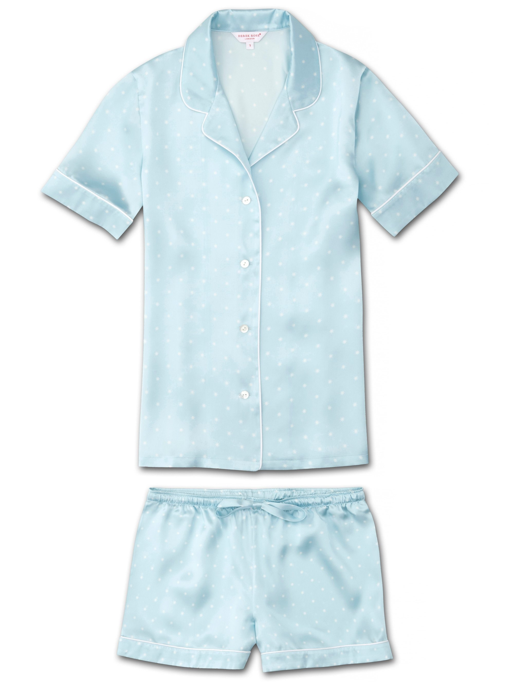 Women's Shortie Pyjamas Brindisi 54 Pure Silk Satin Blue
