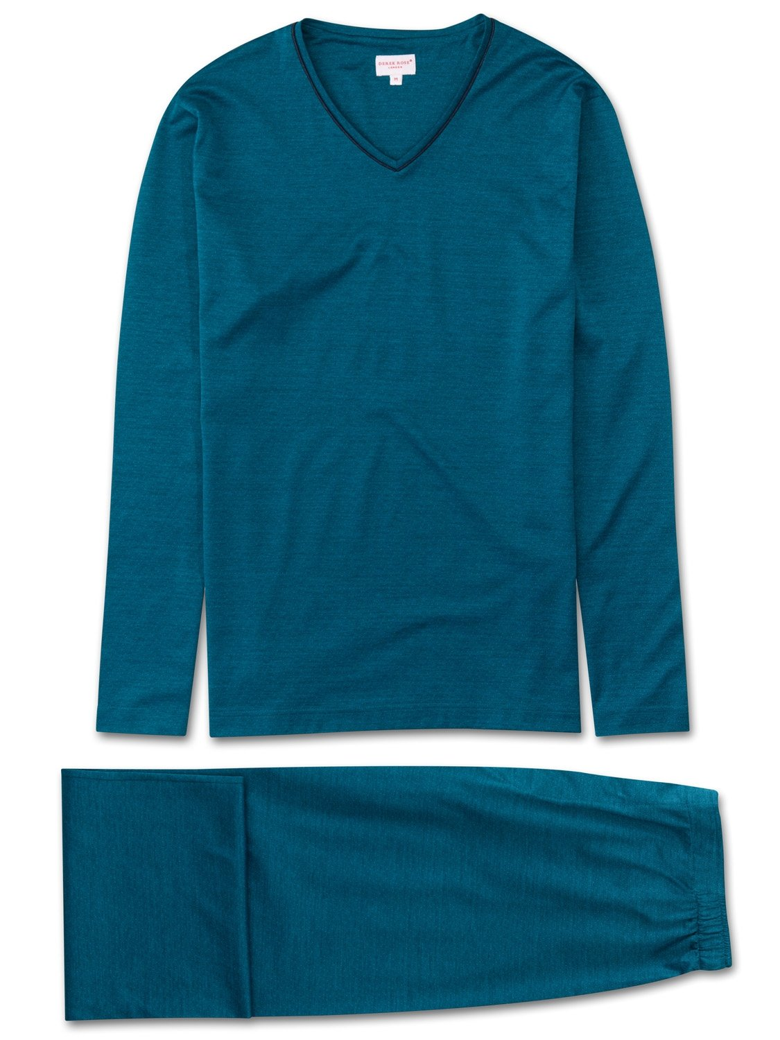 Men's Jersey V-Neck Pyjamas Bari 14 Stretch Cotton Teal