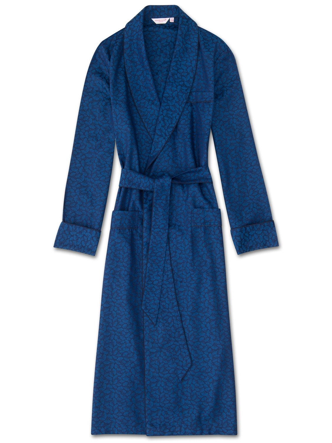 Men's Piped Dressing Gown Paris 14 Cotton Jacquard Navy