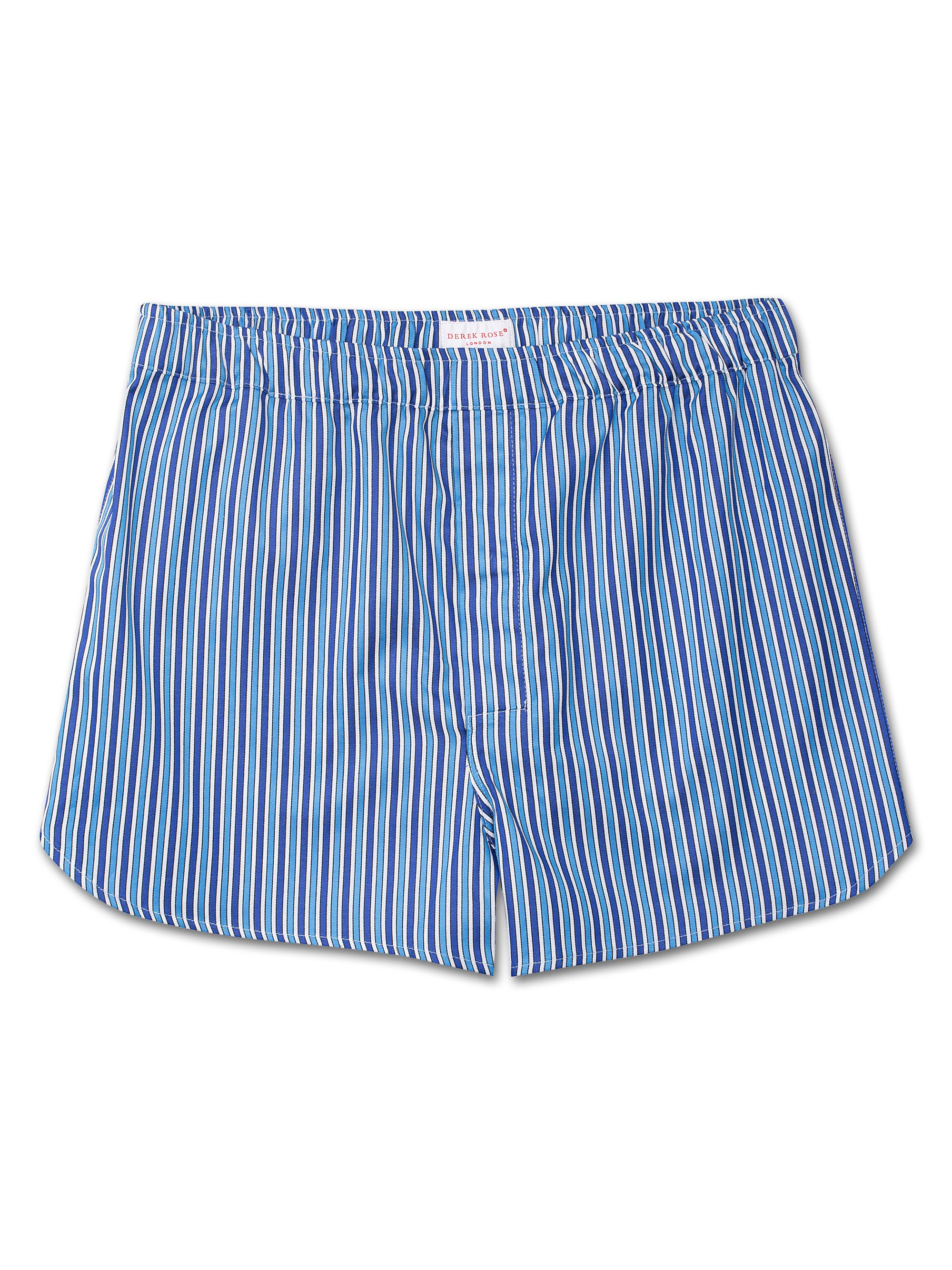 Men's Modern Fit Boxer Shorts Royal 197 Cotton Satin Stripe Blue