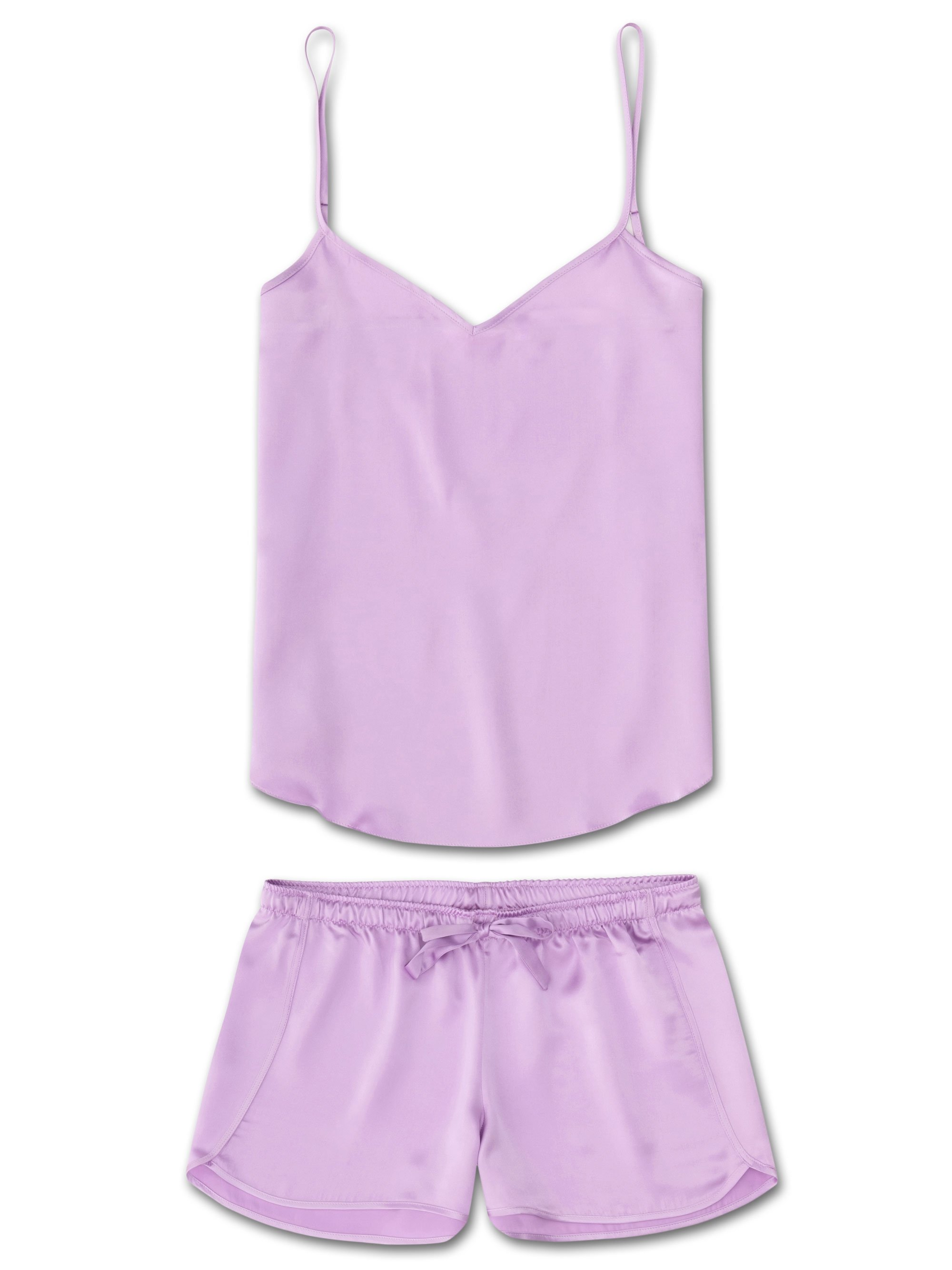 Women's Cami Short Pyjama Set Bailey Pure Silk Satin Lilac