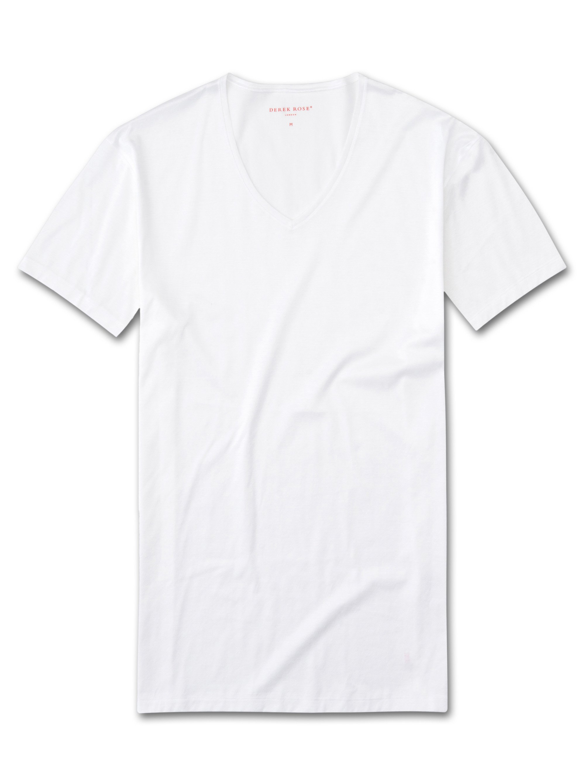 Men's Underwear V-Neck T-Shirt Lewis Double Mercerised Cotton White