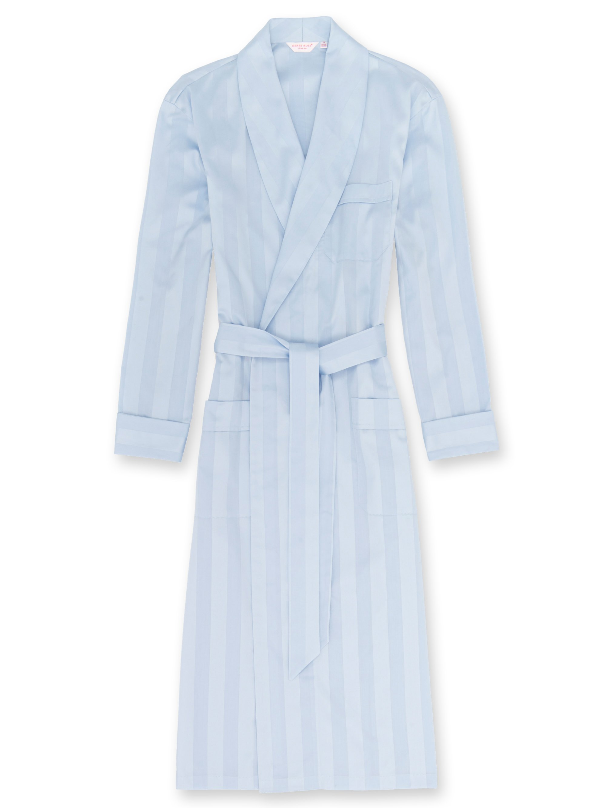 Men's Classic Dressing Gown Lingfield Cotton Satin Stripe Blue