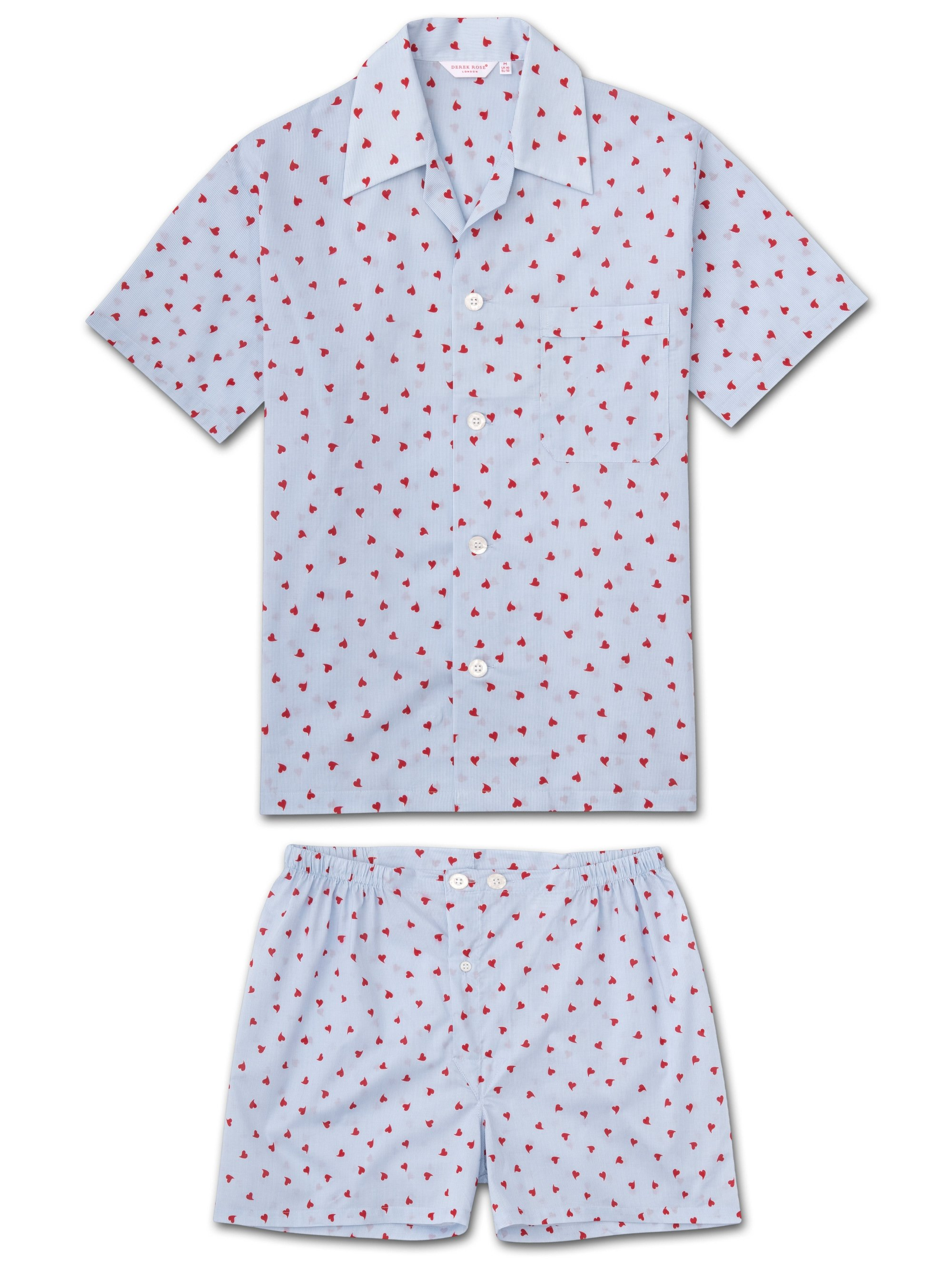 Men's Short Pyjamas Nelson 75 Cotton Batiste Blue