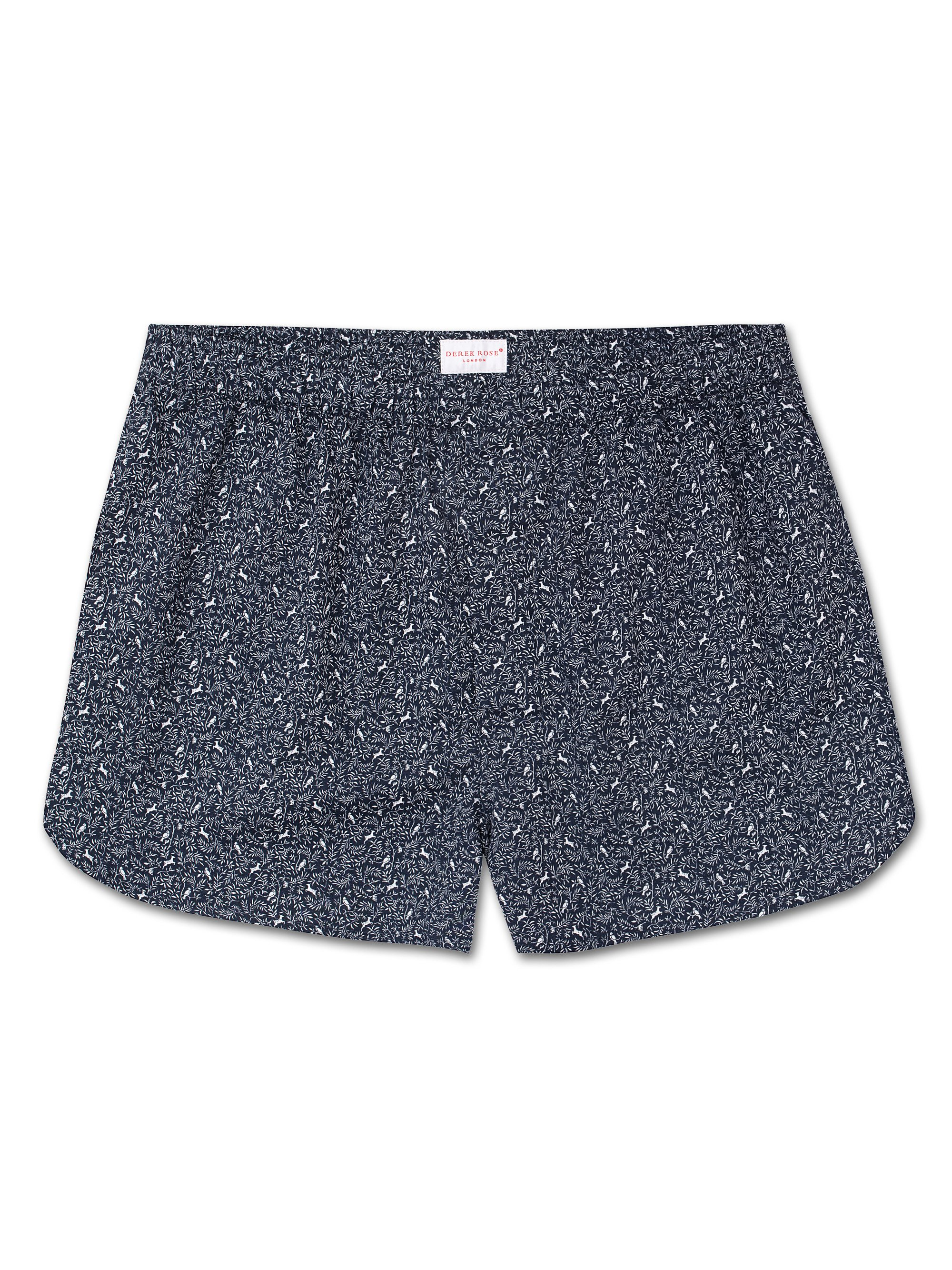 Men's Modern Fit Boxer Shorts Dixie 3 Cotton Batiste Navy